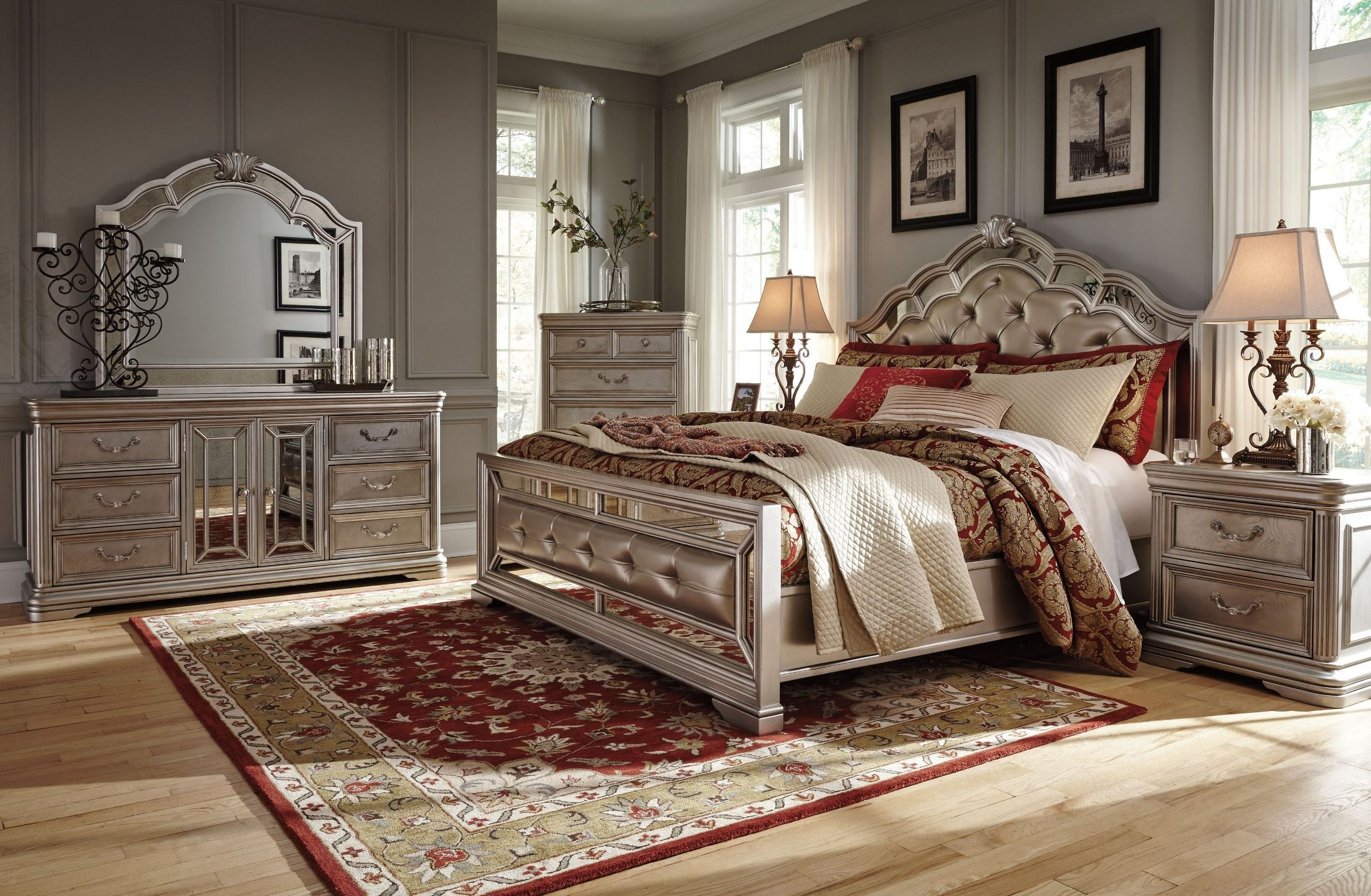 birlanny silver upholstered panel bedroom set b7205754