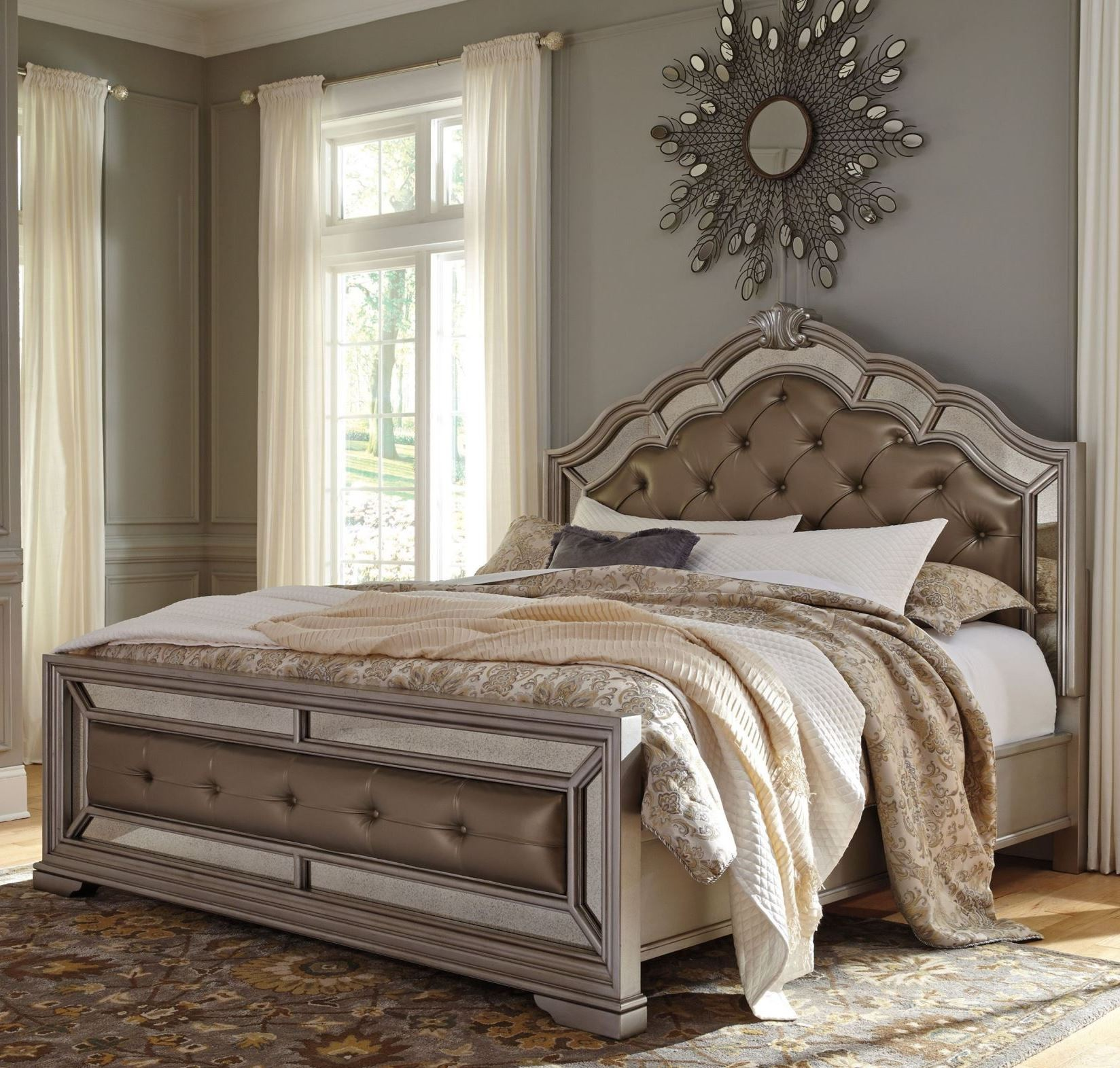Birlanny silver upholstered panel bedroom set from ashley for 3 bedroom set