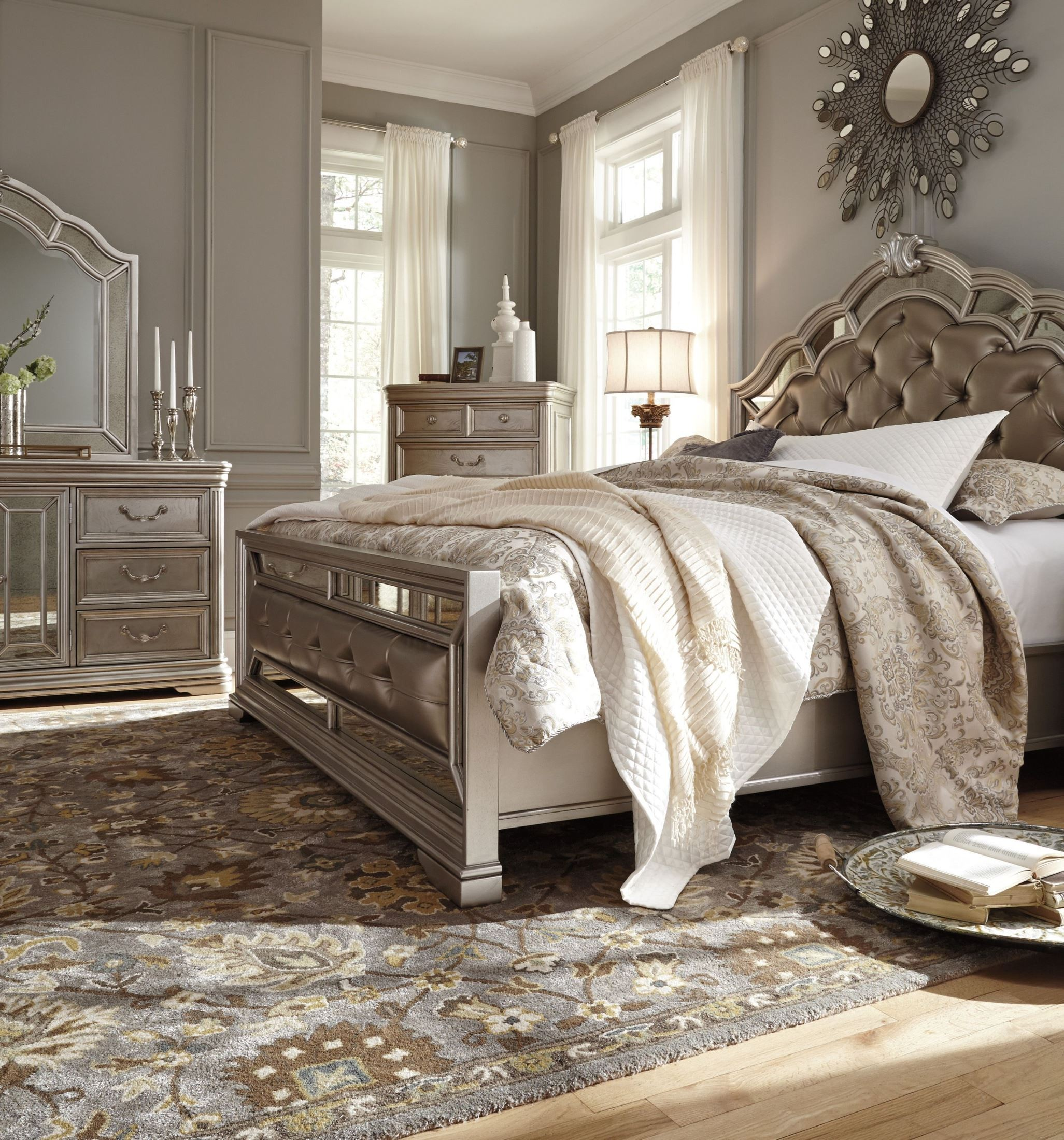 Birlanny Silver Upholstered Panel Bedroom Set B720 57 54