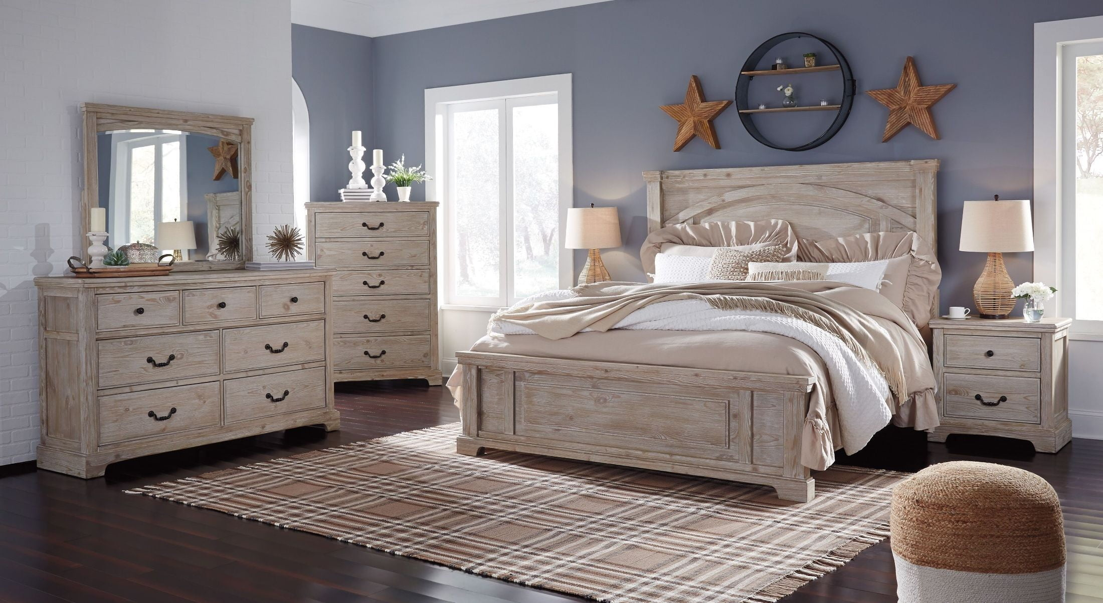 Charmyn White Wash Panel Bedroom Set From Ashley Coleman Furniture