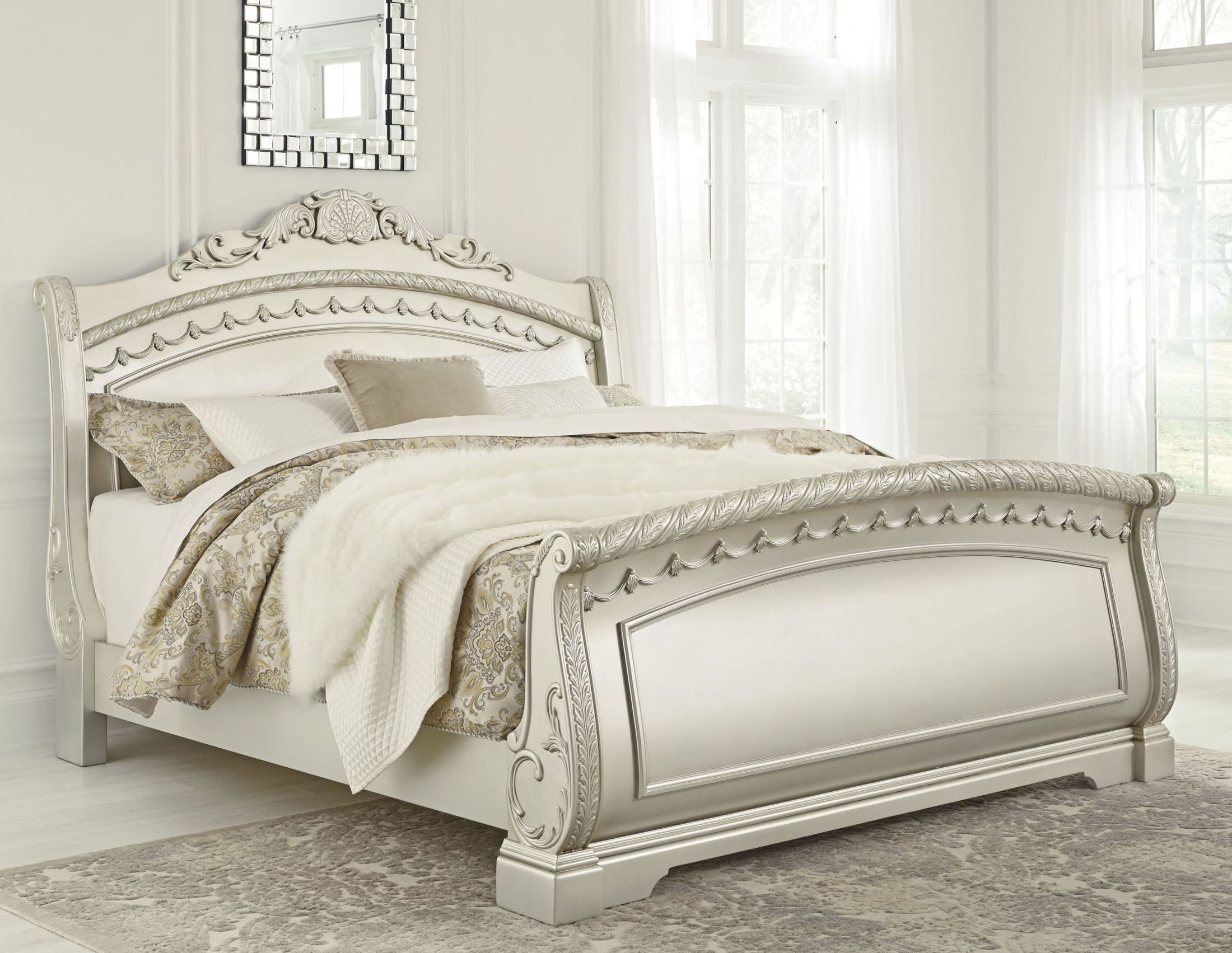 Cassimore North Shore Pearl Silver Queen Sleigh Bed From