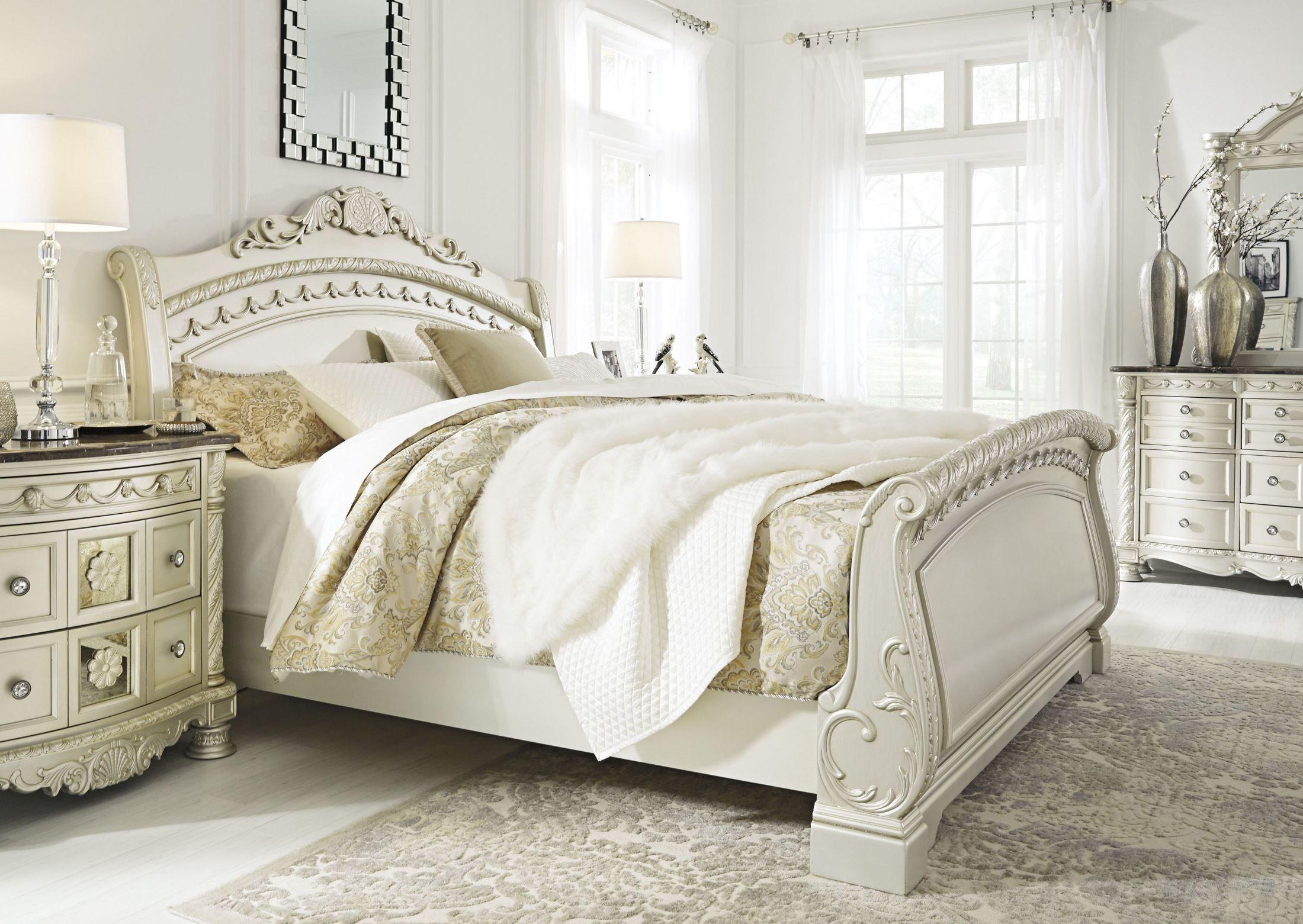 Cassimore north shore pearl silver cal king sleigh bed - North shore king sleigh bedroom set ...
