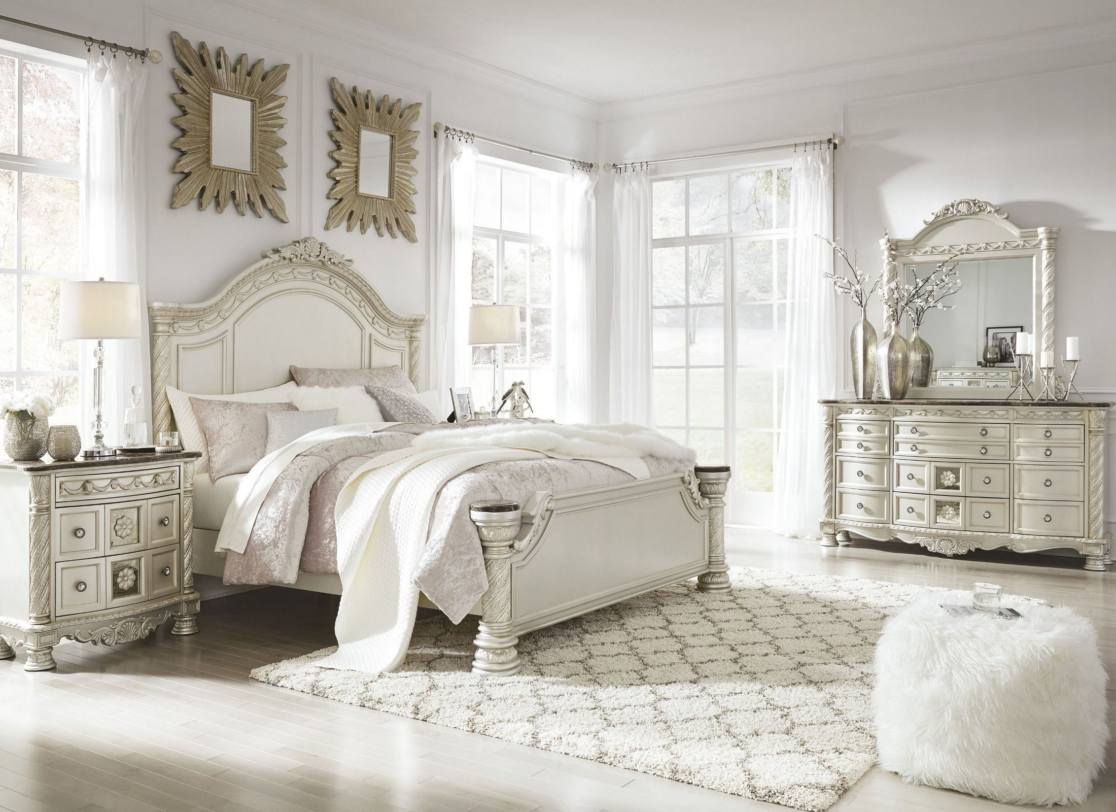 Beau Cassimore North Shore Pearl Silver Panel Bedroom Set From Ashley | Coleman  Furniture