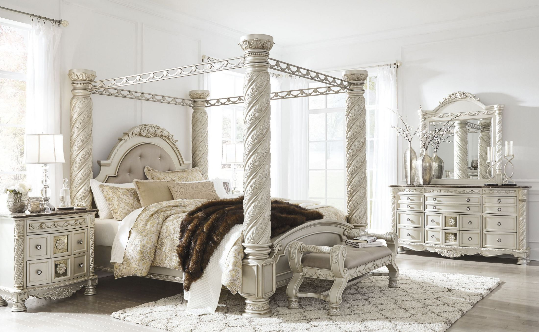 Silver King Canopy Bed