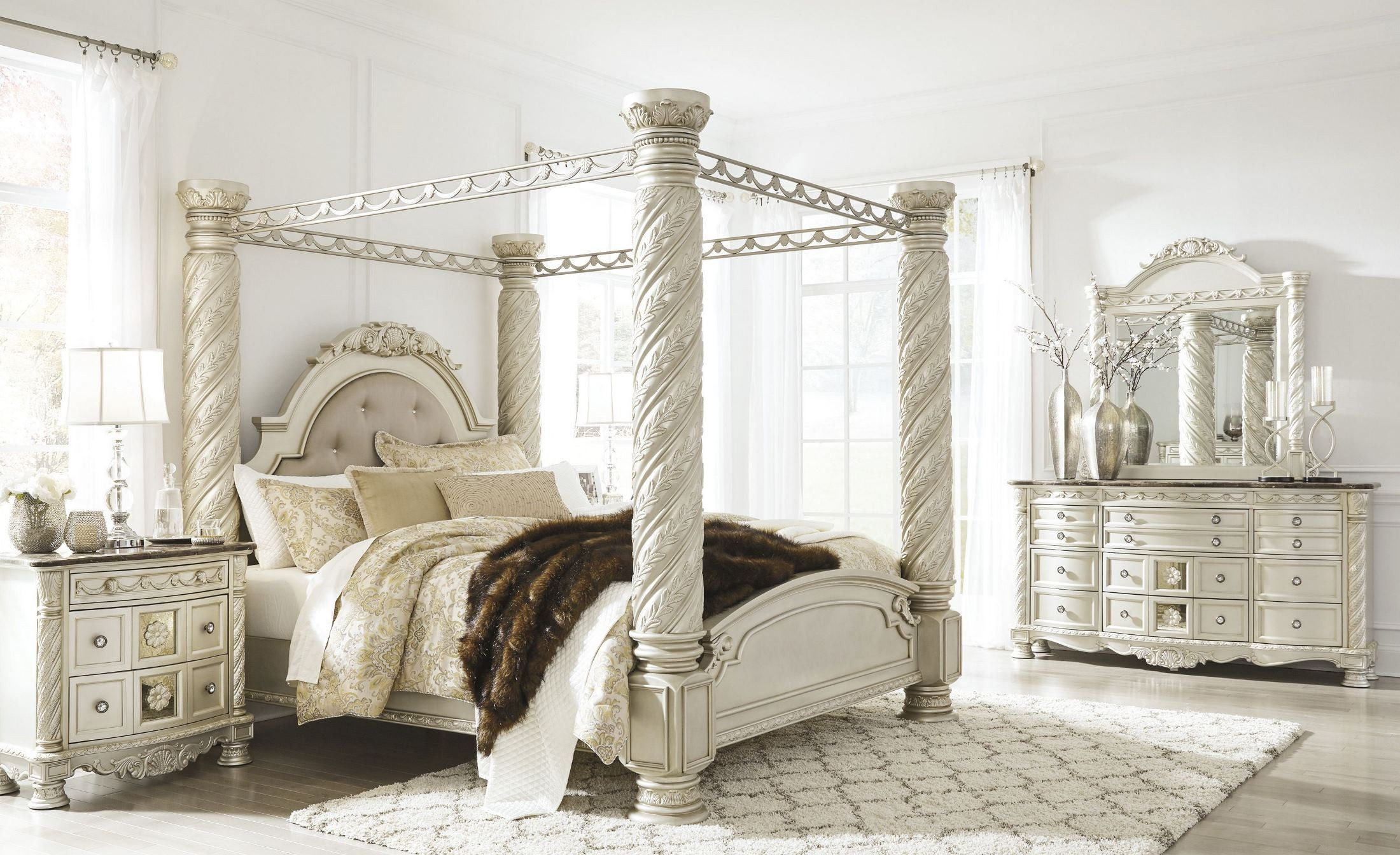 Cassimore North Shore Pearl Silver Upholstered Poster Canopy Bedroom Set From Ashley Coleman