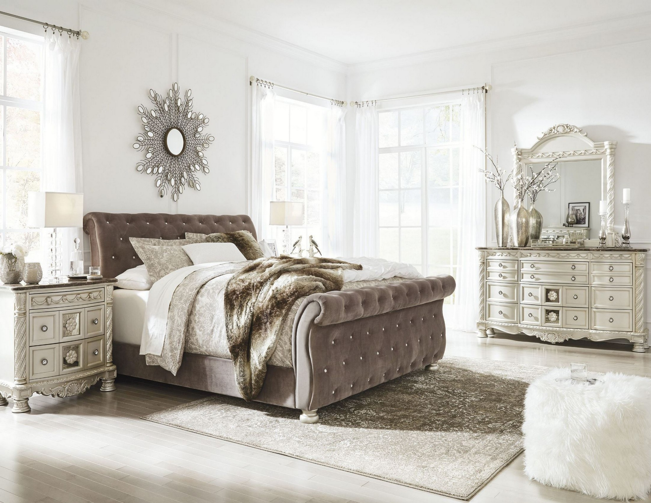 Cassimore North Shore Pearl Silver Upholstered Bedroom Set From Ashley Coleman Furniture