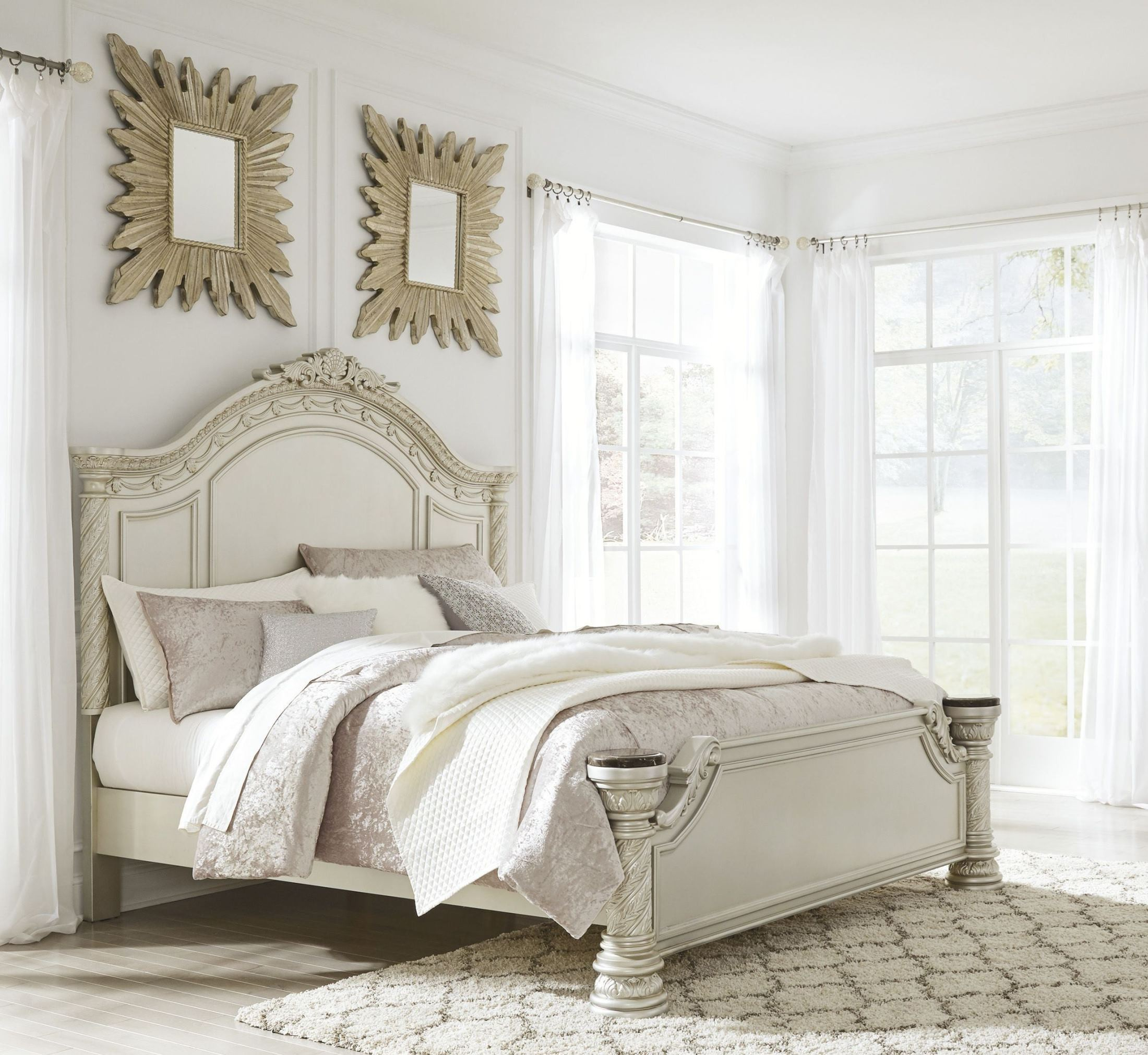 cassimore north shore pearl silver cal king panel bed