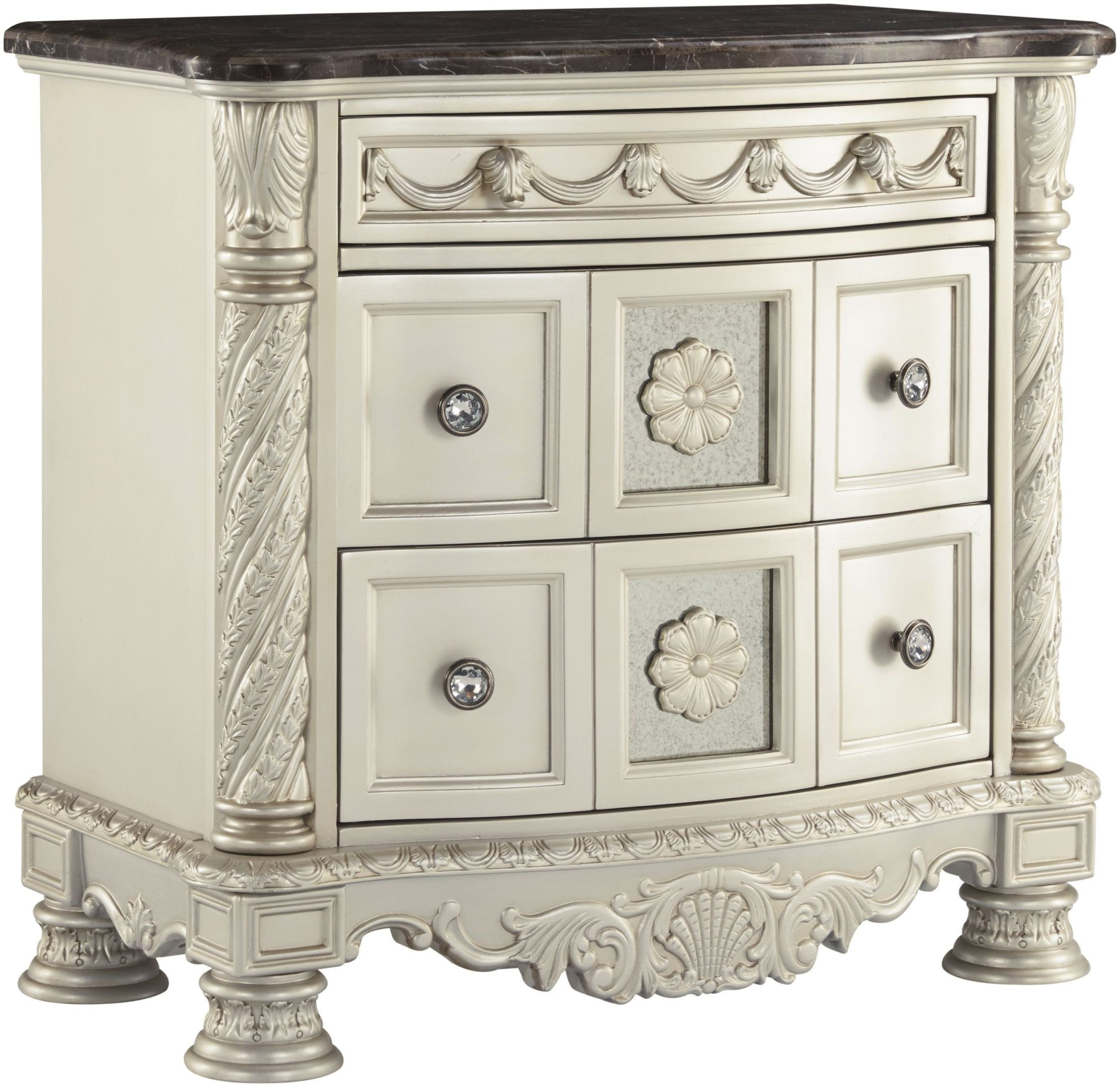 Cassimore North Shore Pearl Silver And Dark Brown 3 Drawer
