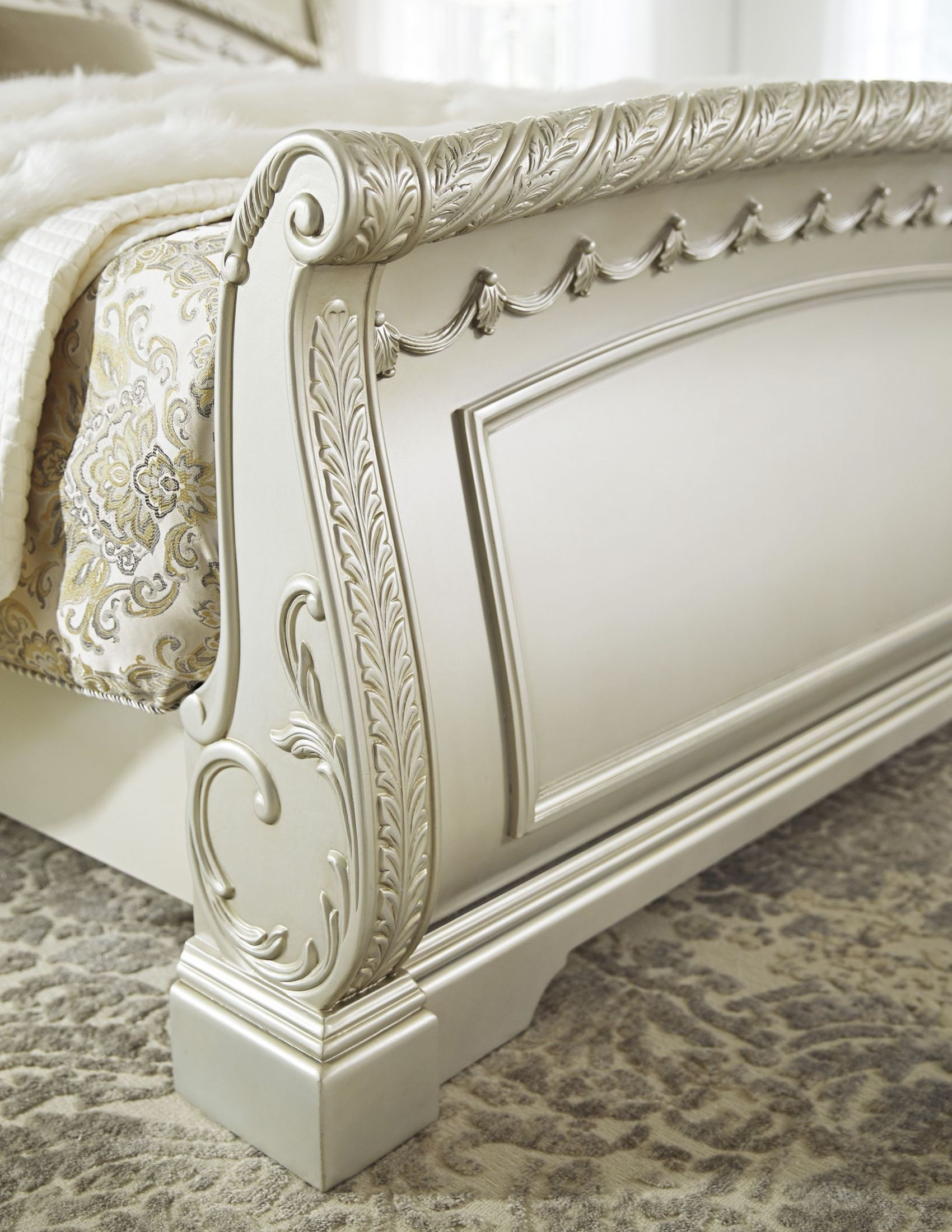 Cassimore north shore pearl silver cal king sleigh bed - North shore sleigh bedroom set sale ...