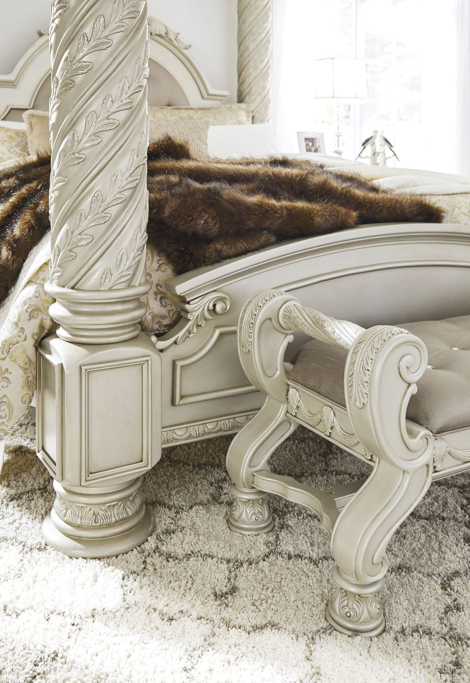 Cassimore North Shore Pearl Silver Cal King Upholstered Poster Canopy Bed From Ashley Coleman