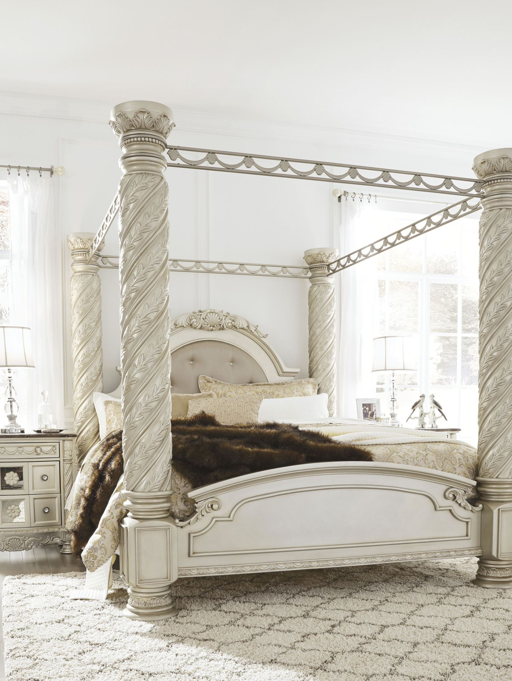 Cassimore North Shore Pearl Silver King Upholstered Poster Canopy Bed : silver canopy bed - memphite.com