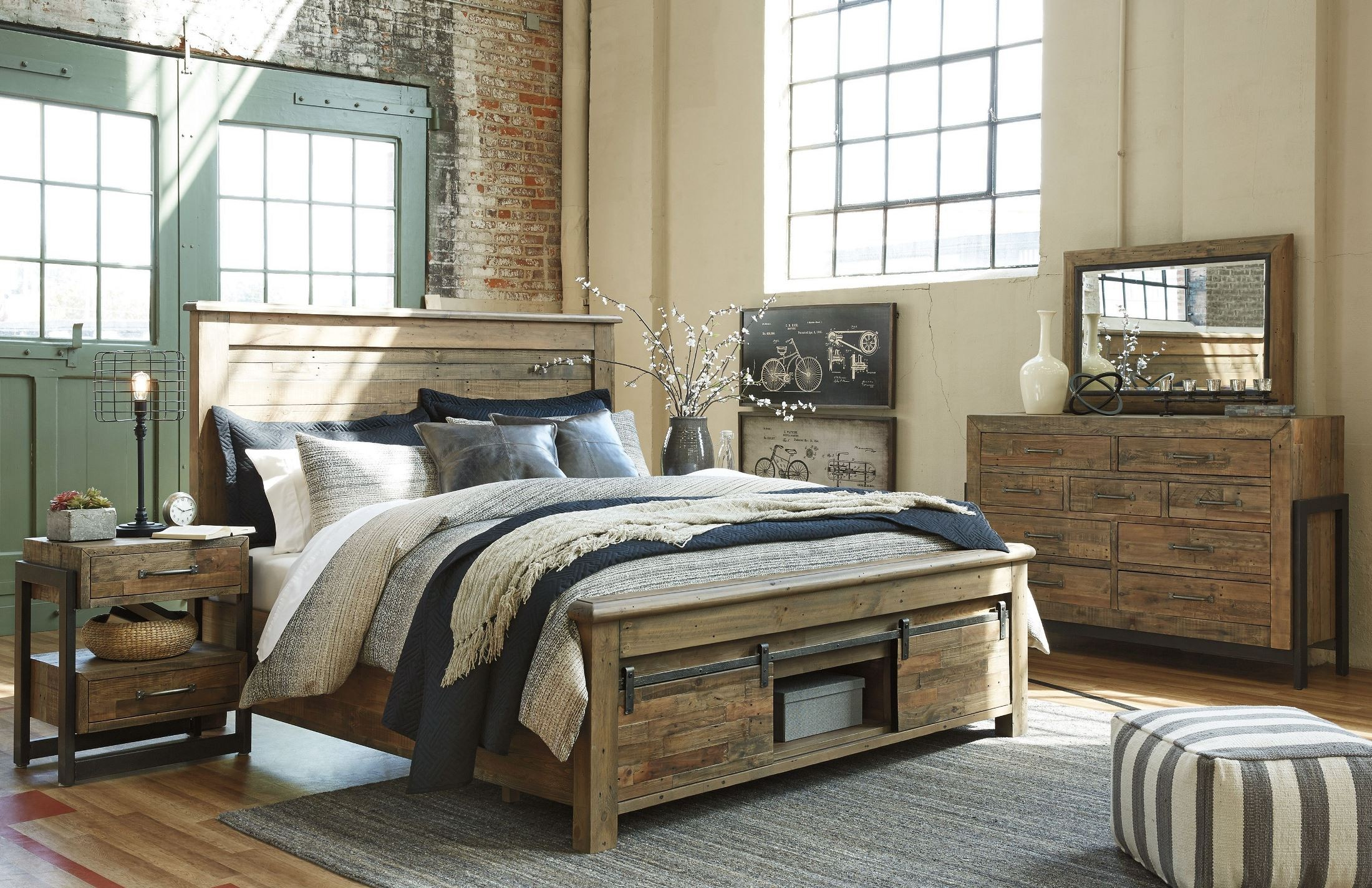 sommerford brown storage panel bedroom set from ashley