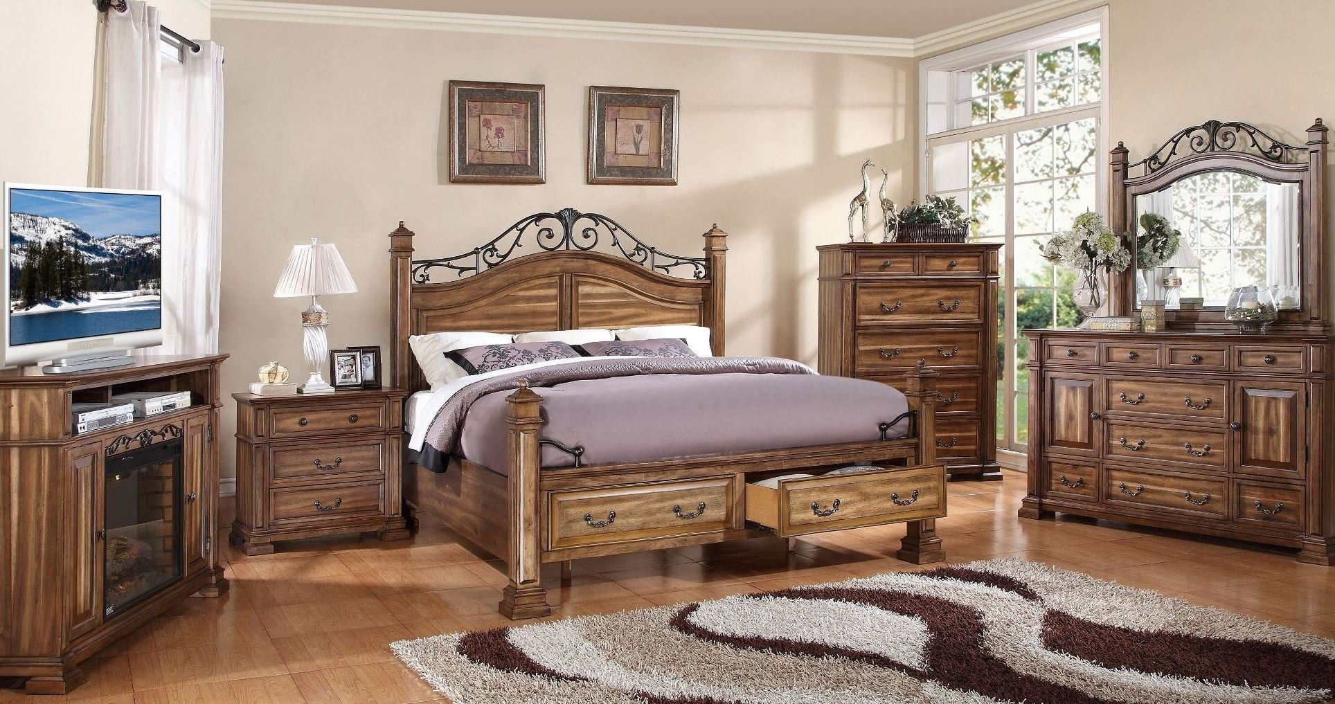 Barclay Rustic Acacia Poster Storage Bedroom Set From Legends Zbcl 7001 7007 7008 Coleman