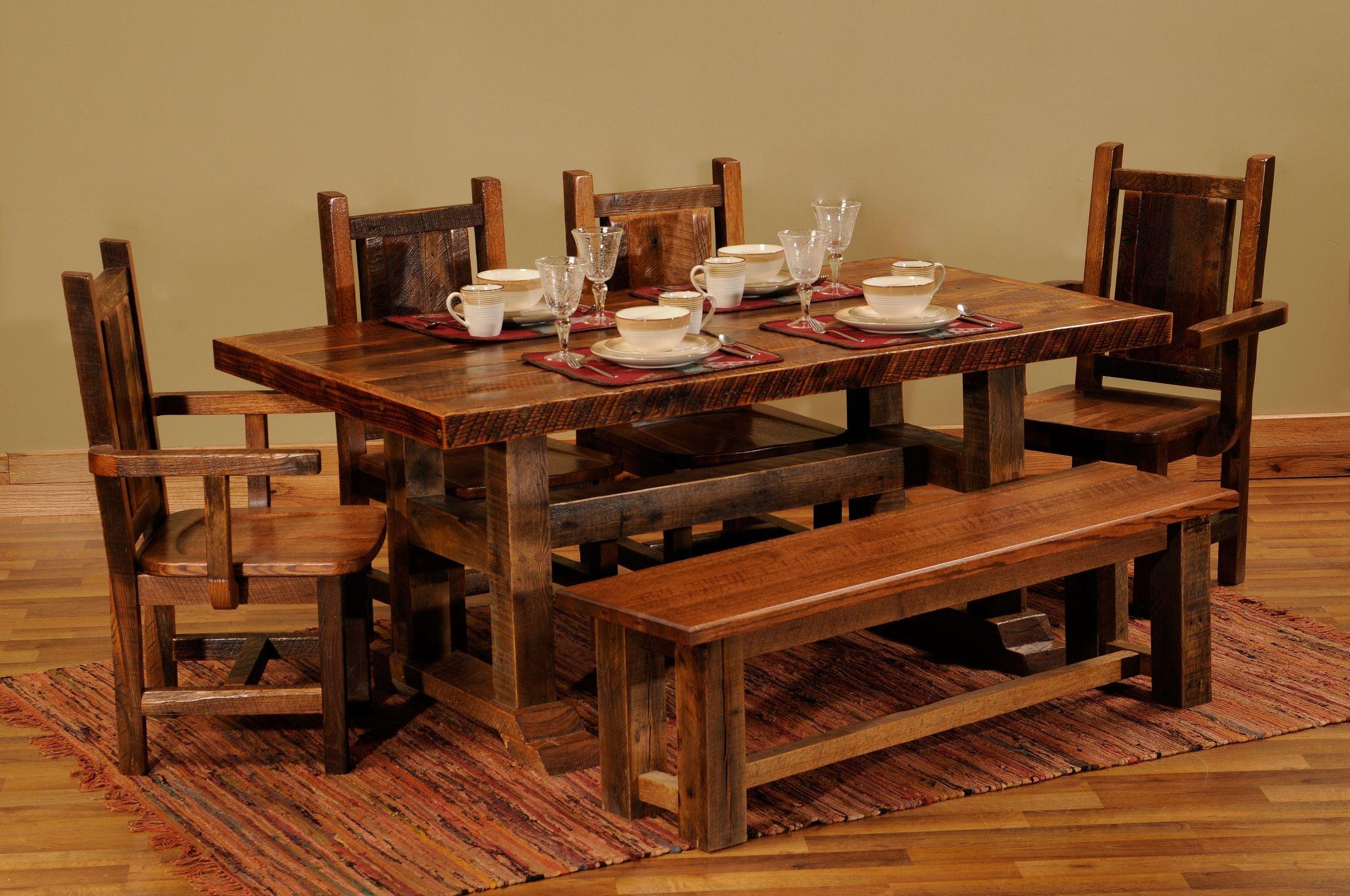 Barnwood Contoured Wood Seat Artisan Antique Oak Dining
