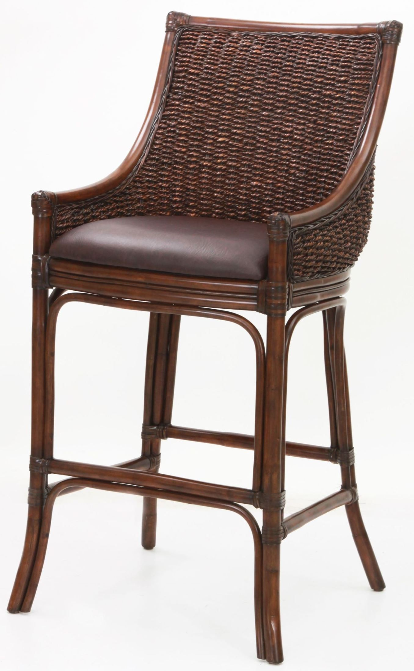 Woven back 26 rattan frame stool from american for American rattan furniture manufacturer