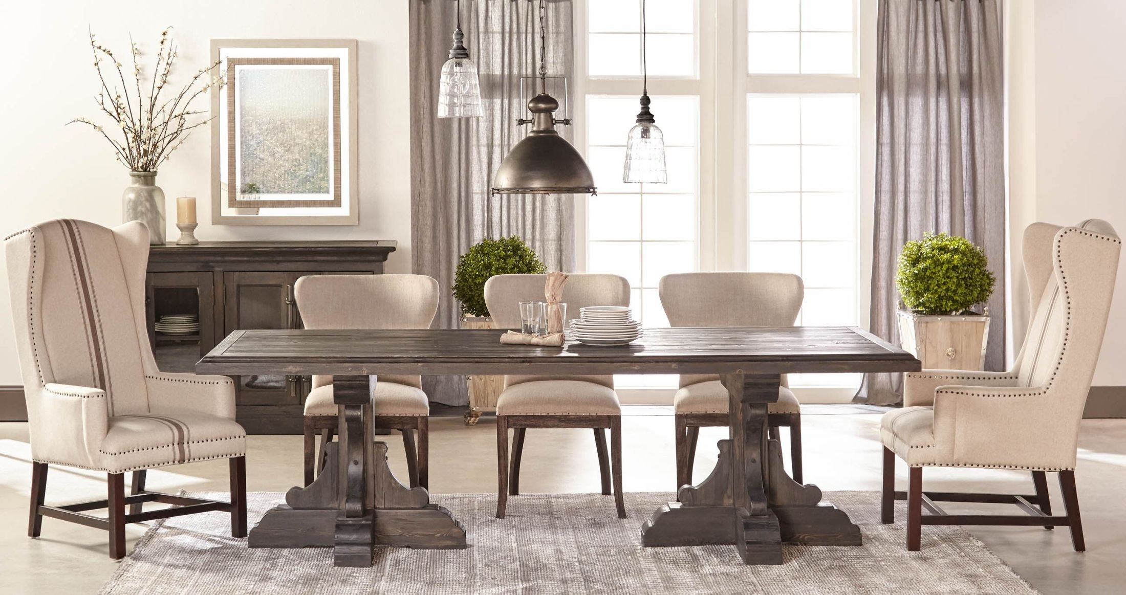 Bastille black wash rectangle dining room set with for Dining room essentials