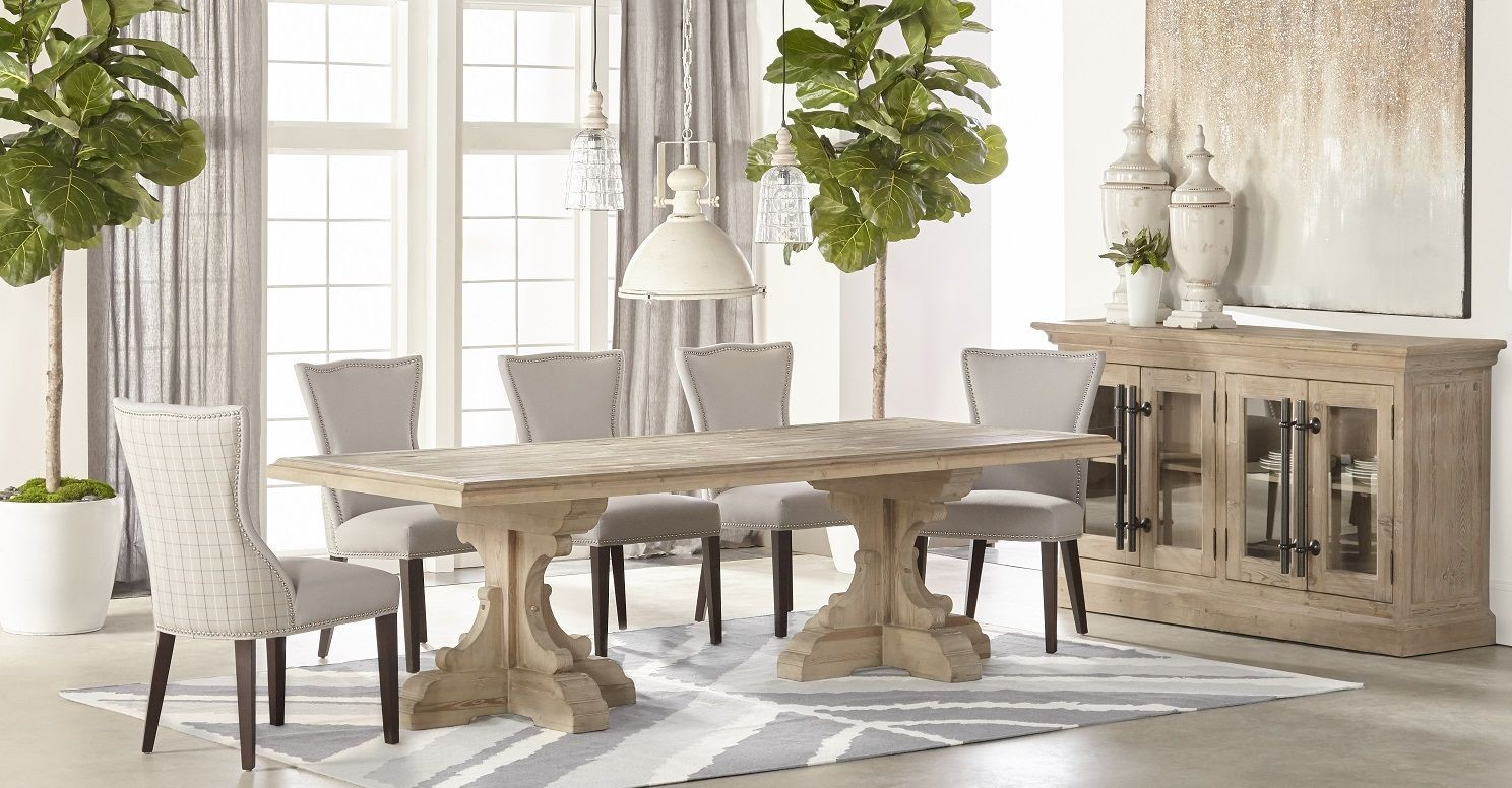 Bastille Smoke Gray Rectangle Dining Room Set With Willow