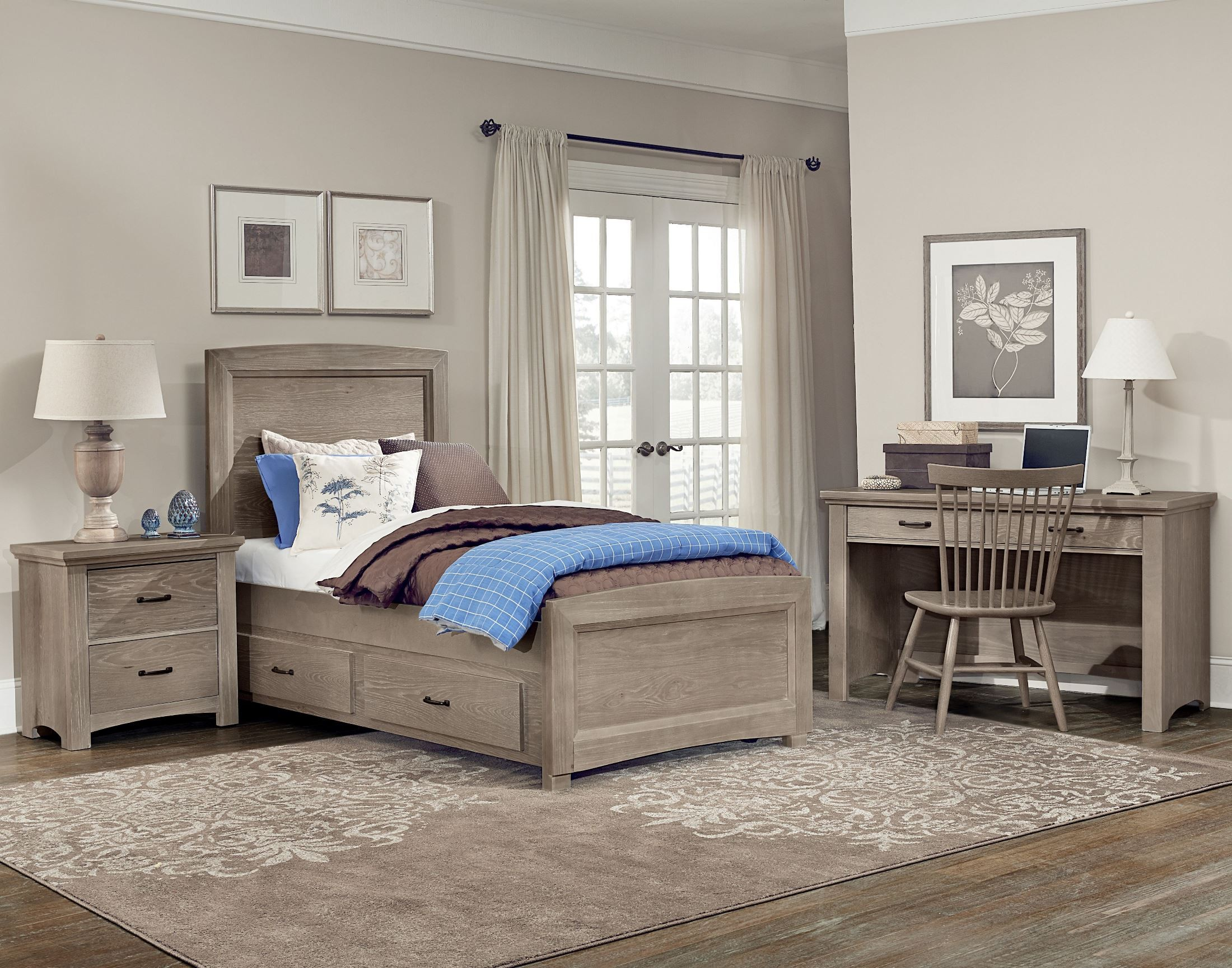 Details About White 3 Piece Storage Drawers Twin Bed Box: Transitions Driftwood Oak Youth One Side Storage Panel