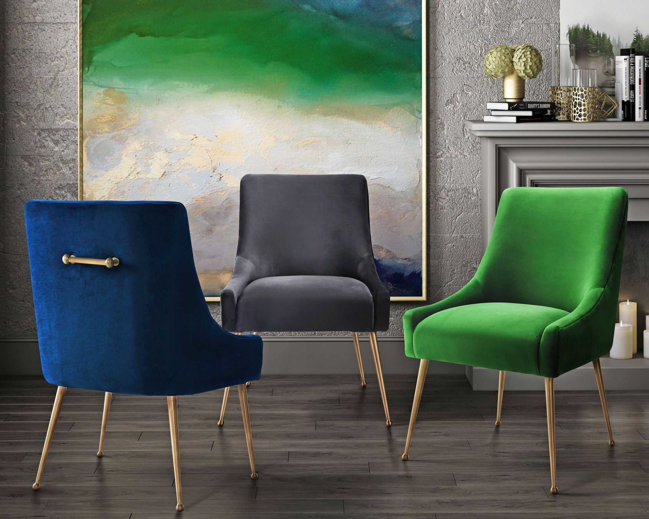 Beatrix Green Velvet Side Chair from TOV