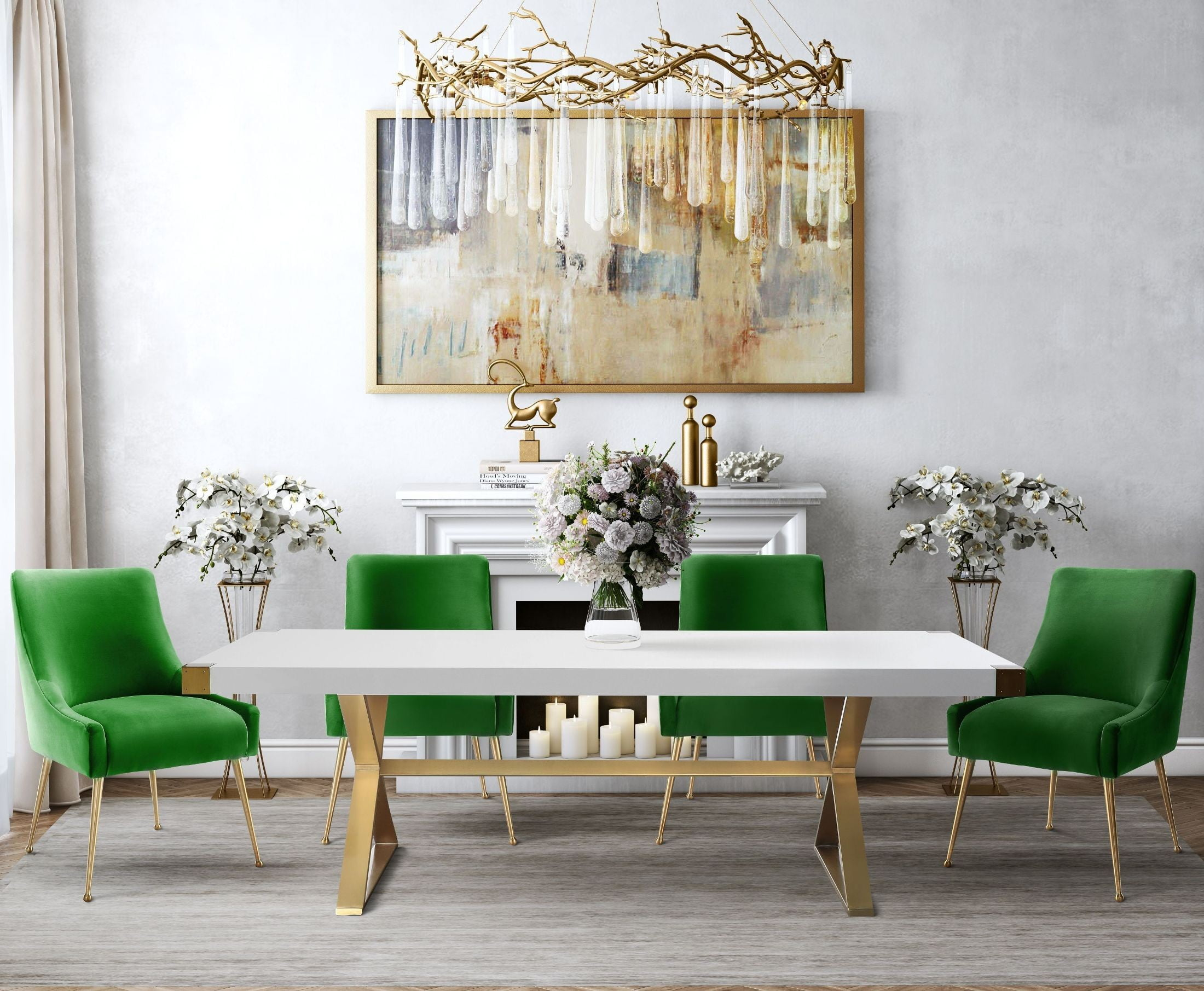 White And Gold Dining Chairs: Adeline White And Gold Rectangular Dining Room Set With