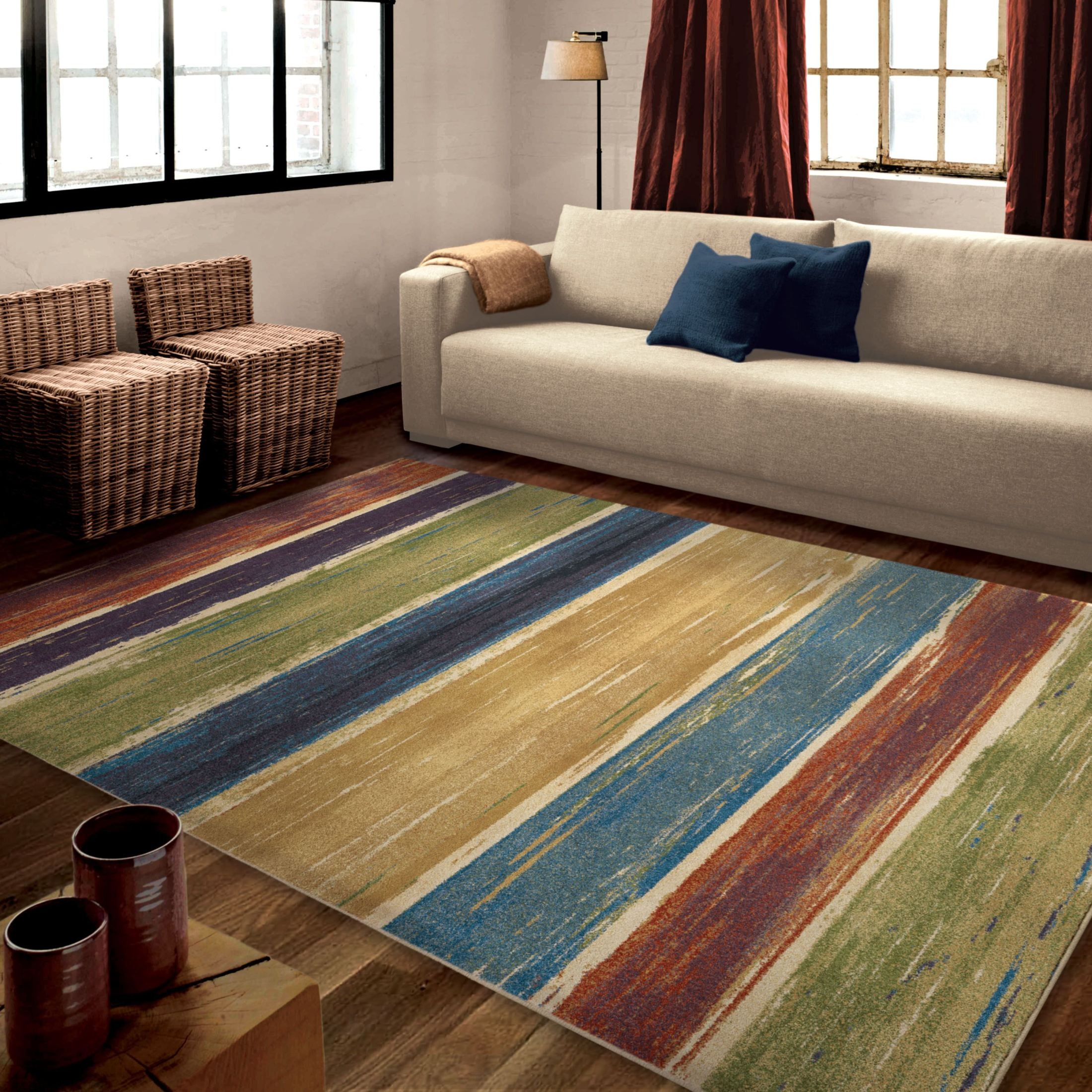 Orian Rugs Bright Color Abstract Beach House Stripe Multi