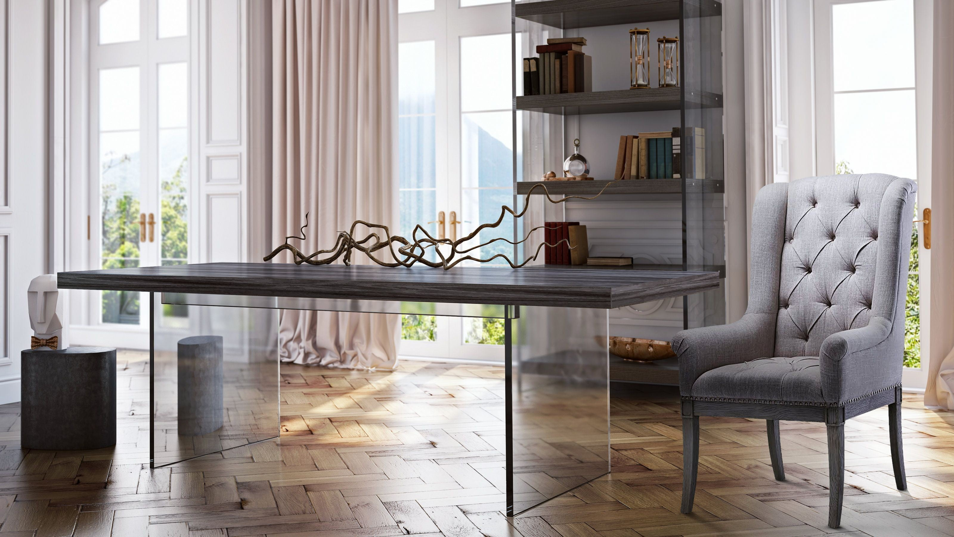 berlin pine and lucite bookcase from tov coleman furniture