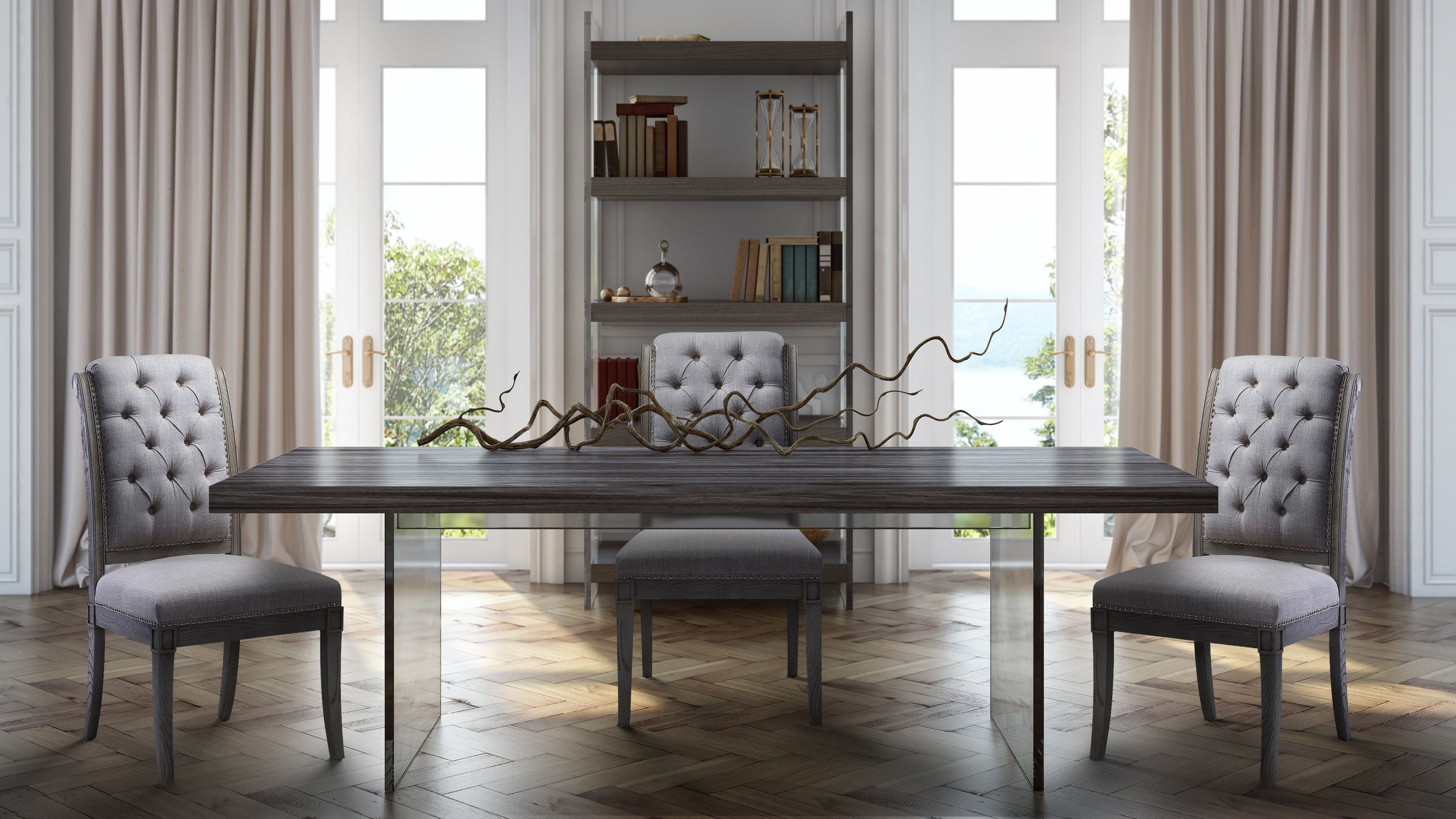 Berlin Pine And Lucite Dining Room Set With Addington