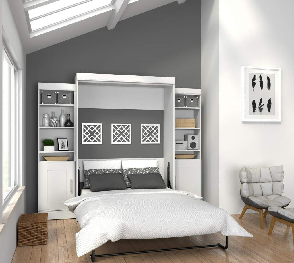 Edge White Full Wall Bed With Two 21 Quot Storage Units And