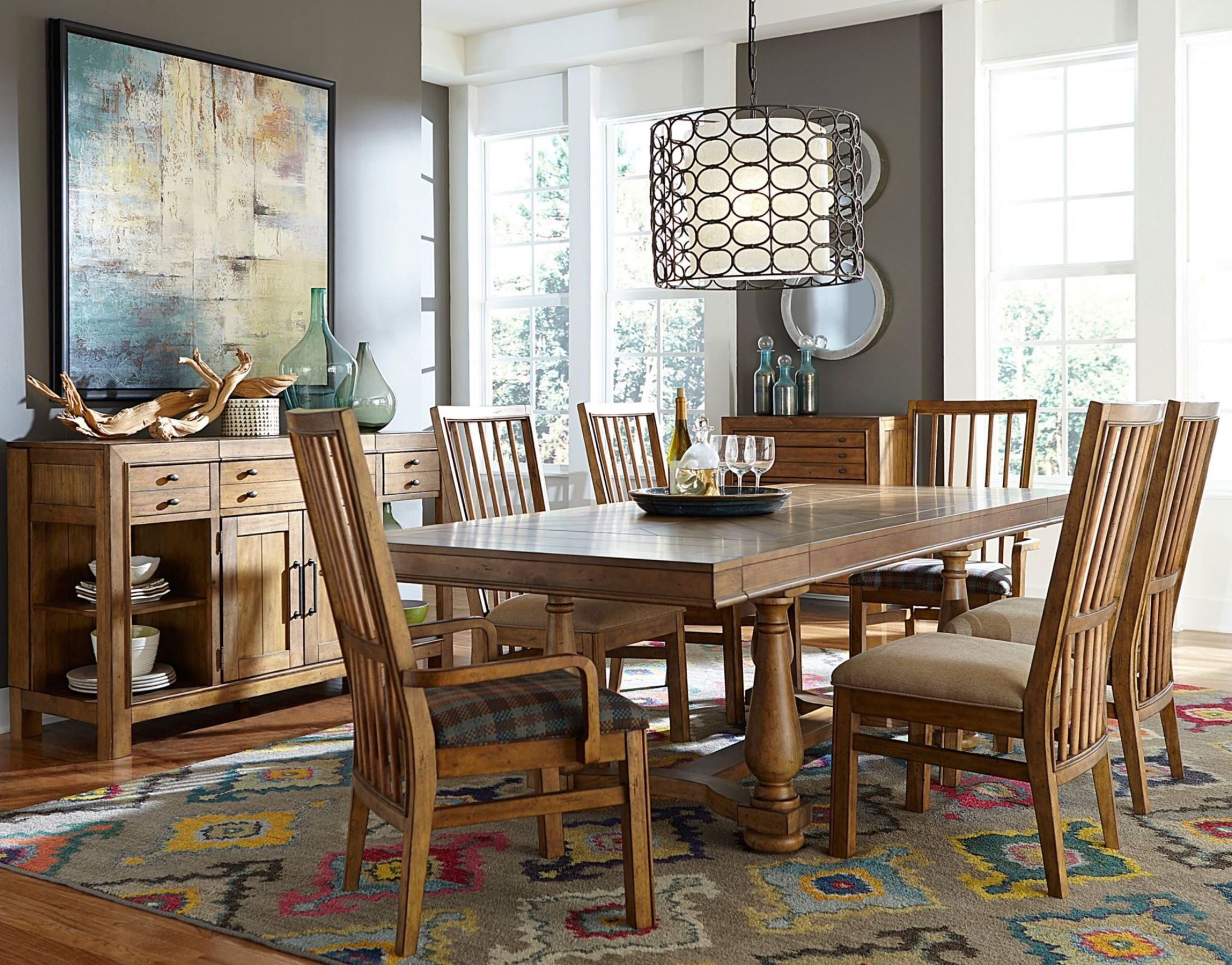 Bethany square brown trestle dining room set from broyhill for Trestle dining room sets