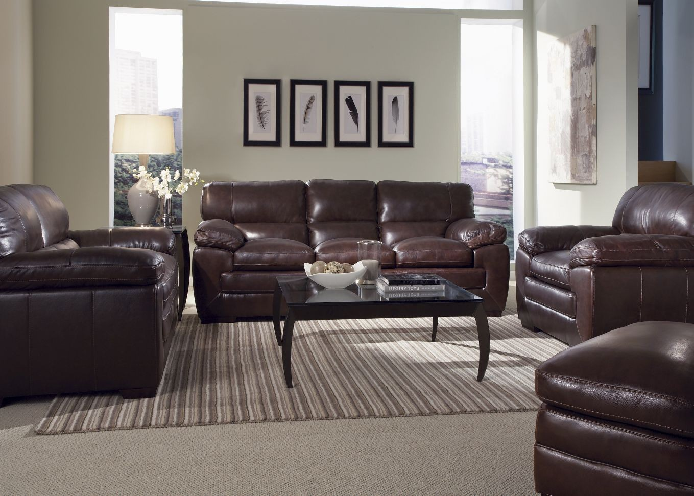 Biscayne Longhorn Espresso Oak Leather Living Room Set