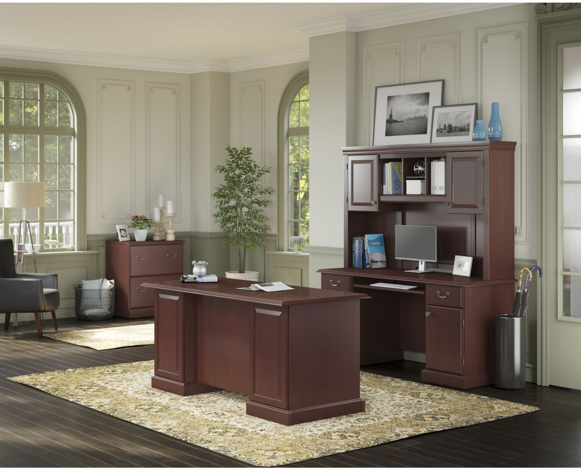 Bennington Harvest Cherry Home Office Set From Kathy Ireland By Bush |  Coleman Furniture