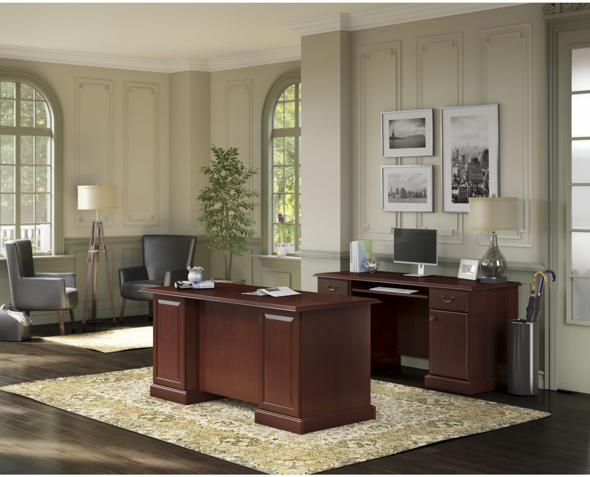 Aspenhome Warm Cherry Executive Modular Home Office: Bennington Harvest Cherry Desk With Credenza From Kathy