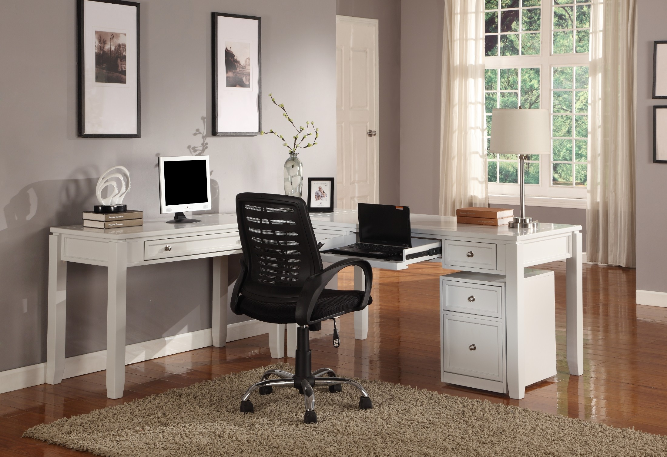 Boca L Shape Credenza Home Office Set From Parker House (BOC 347C 347D 370)  | Coleman Furniture