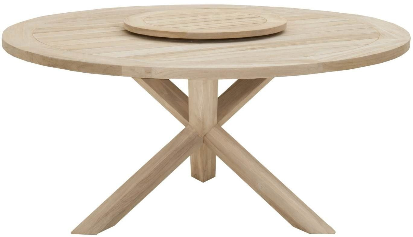 """Boca Gray Teak 63"""" Round Outdoor Dining Table with Lazy ..."""
