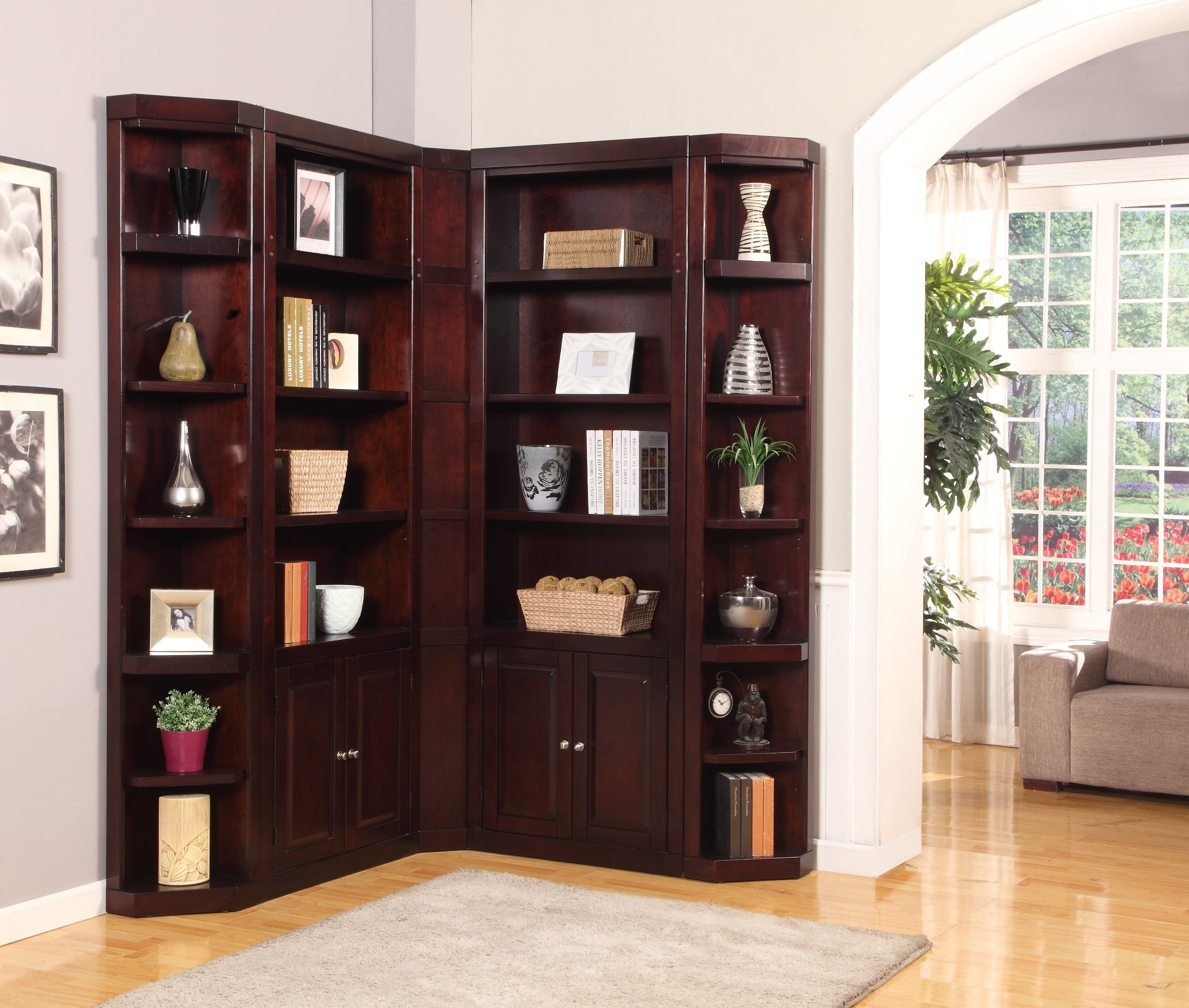 corner furniture boston l shape bookcase wall from parker house coleman