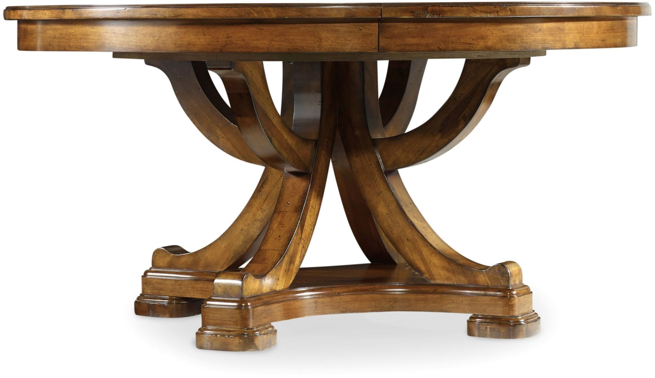 round pedestal dining room tables | Tynecastle Brown Round Pedestal Extendable Dining Table ...