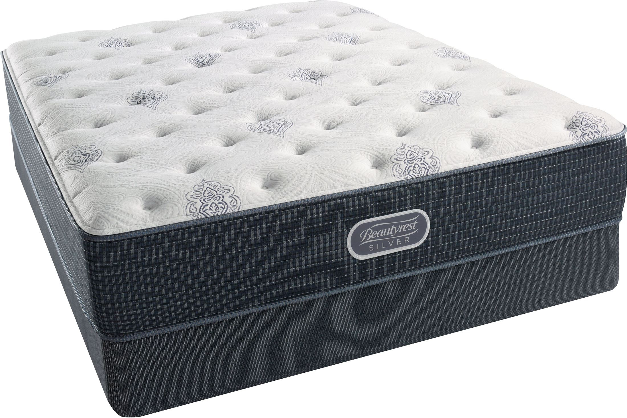 Beautyrest Recharge Silver Courtyard Blue Tight Top Plush