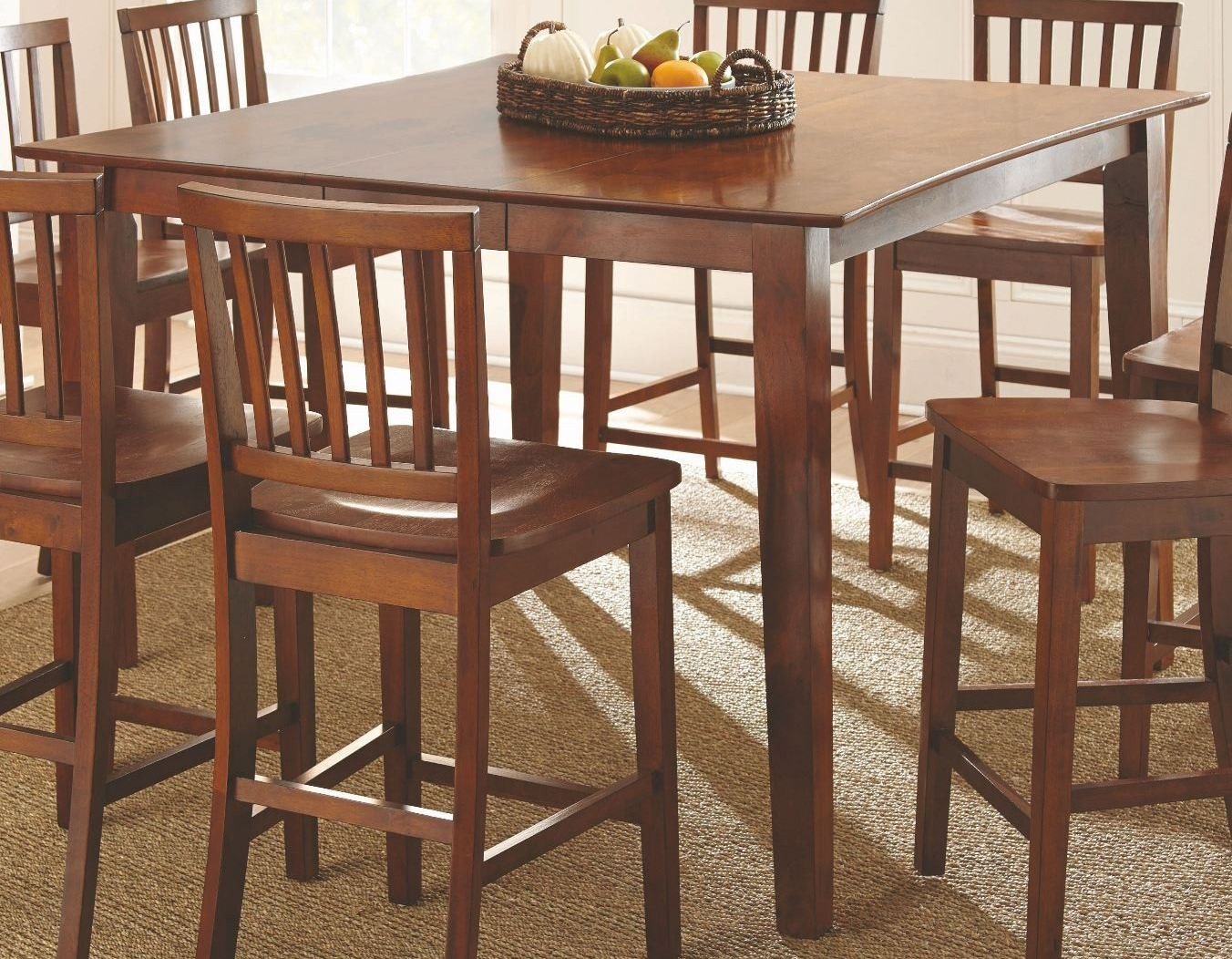 Branson honey spice extendable counter height dining table for Counter height extendable dining table