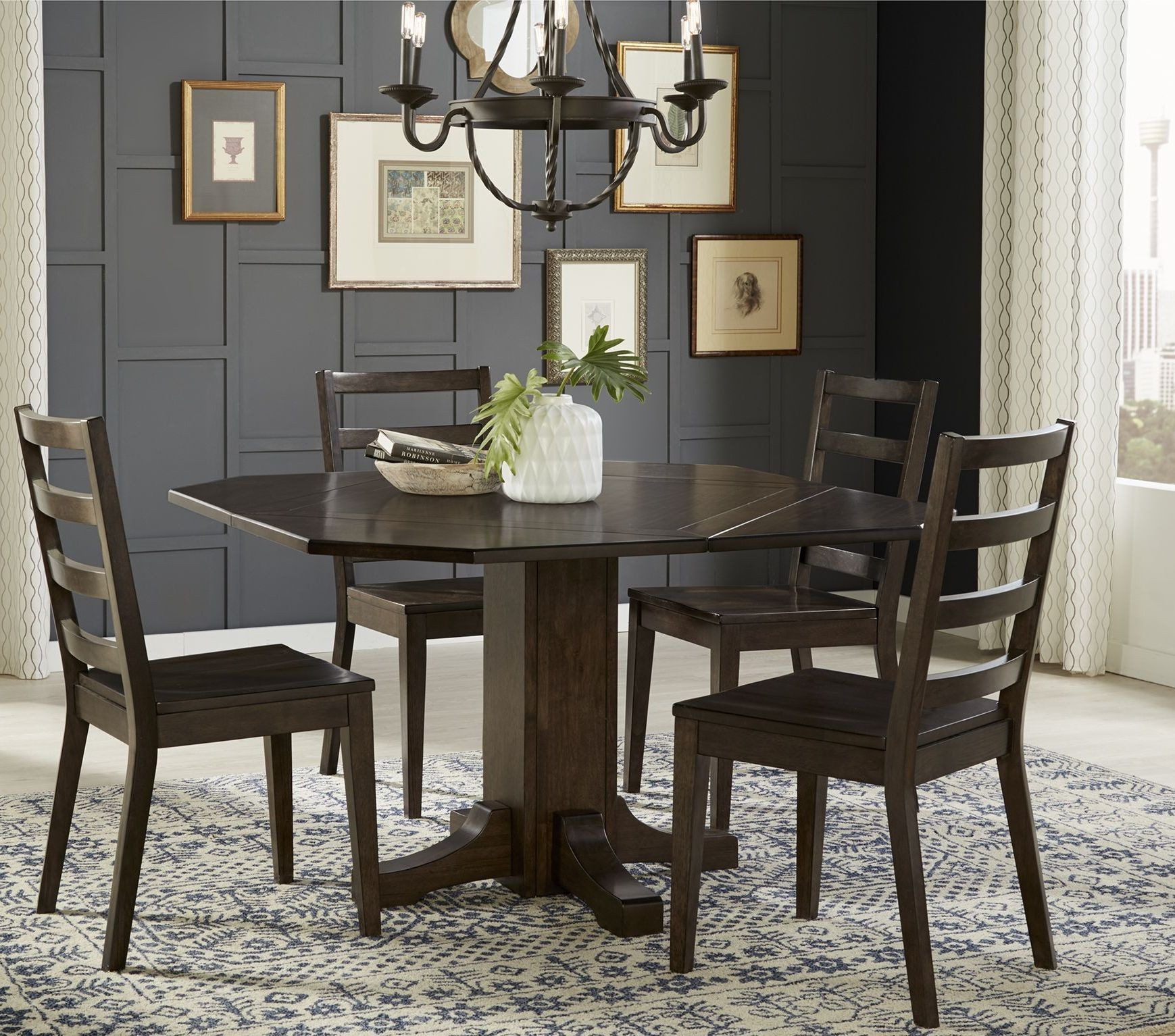 Dark Dining Room: Brooklyn Heights Dark Grey Extendable Pedestal Dining Room