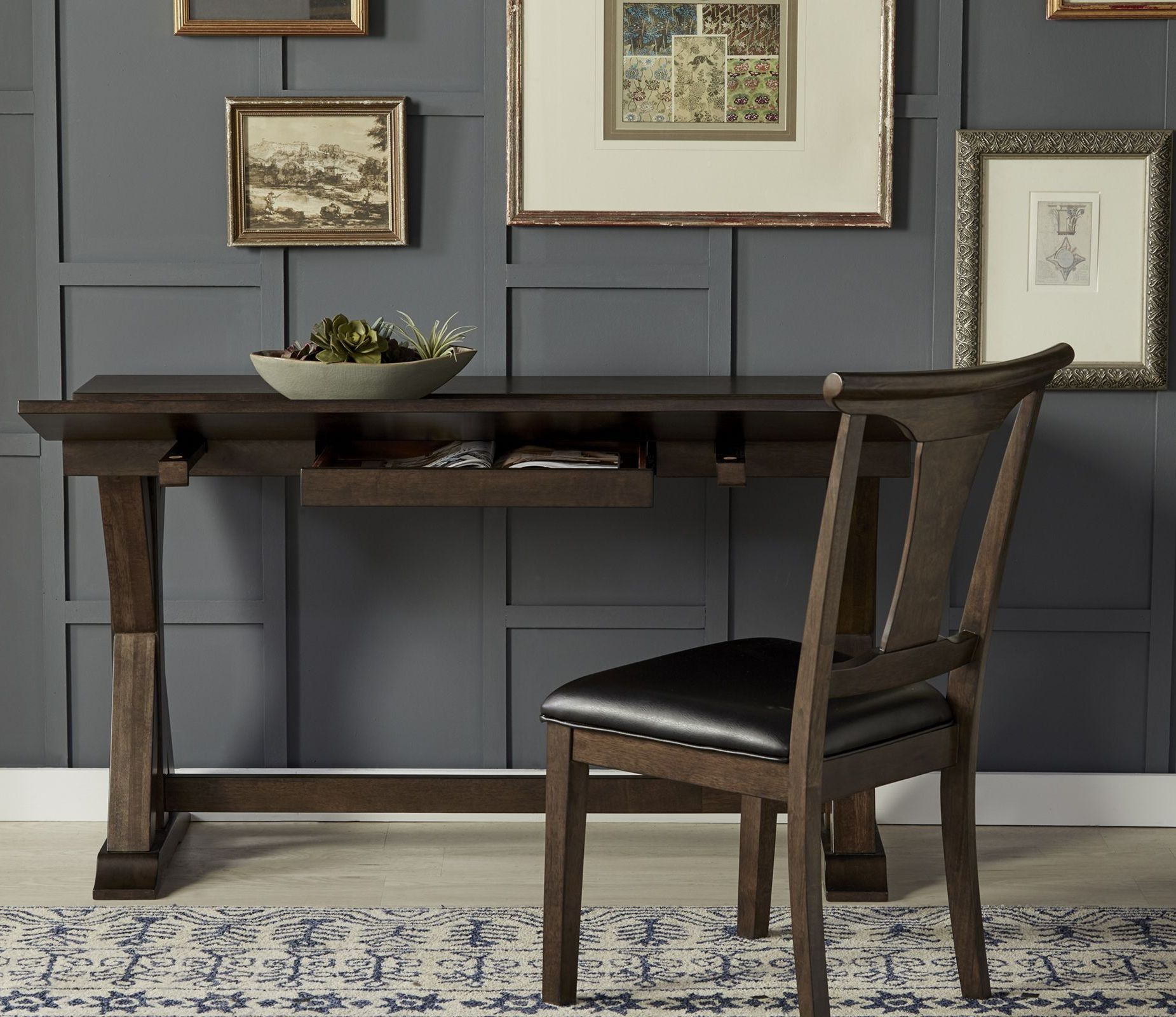 brooklyn heights dark grey extendable flip top dining table from a america coleman furniture. Black Bedroom Furniture Sets. Home Design Ideas