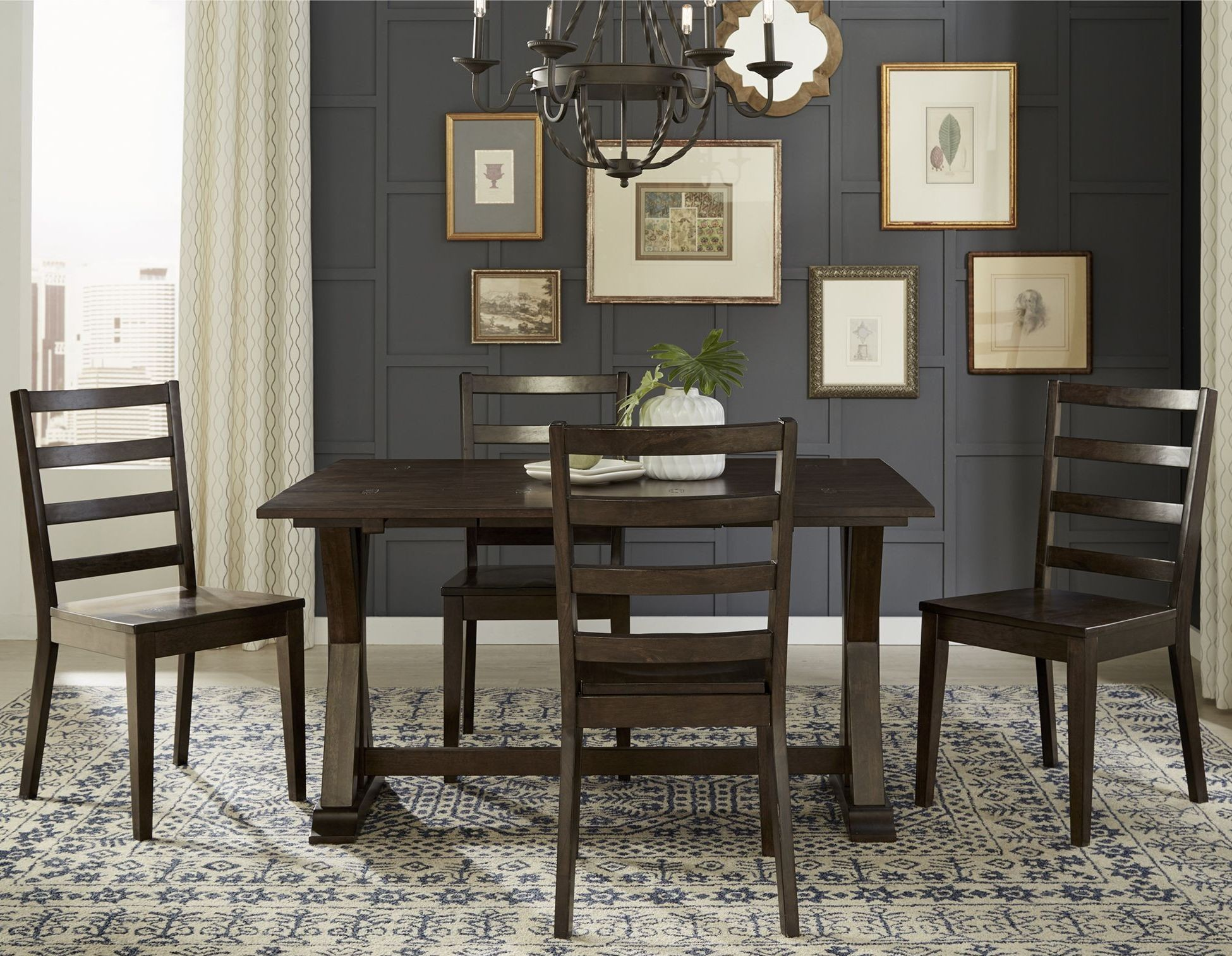 Brooklyn heights dark grey extendable flip top dining room for Dark grey dining room