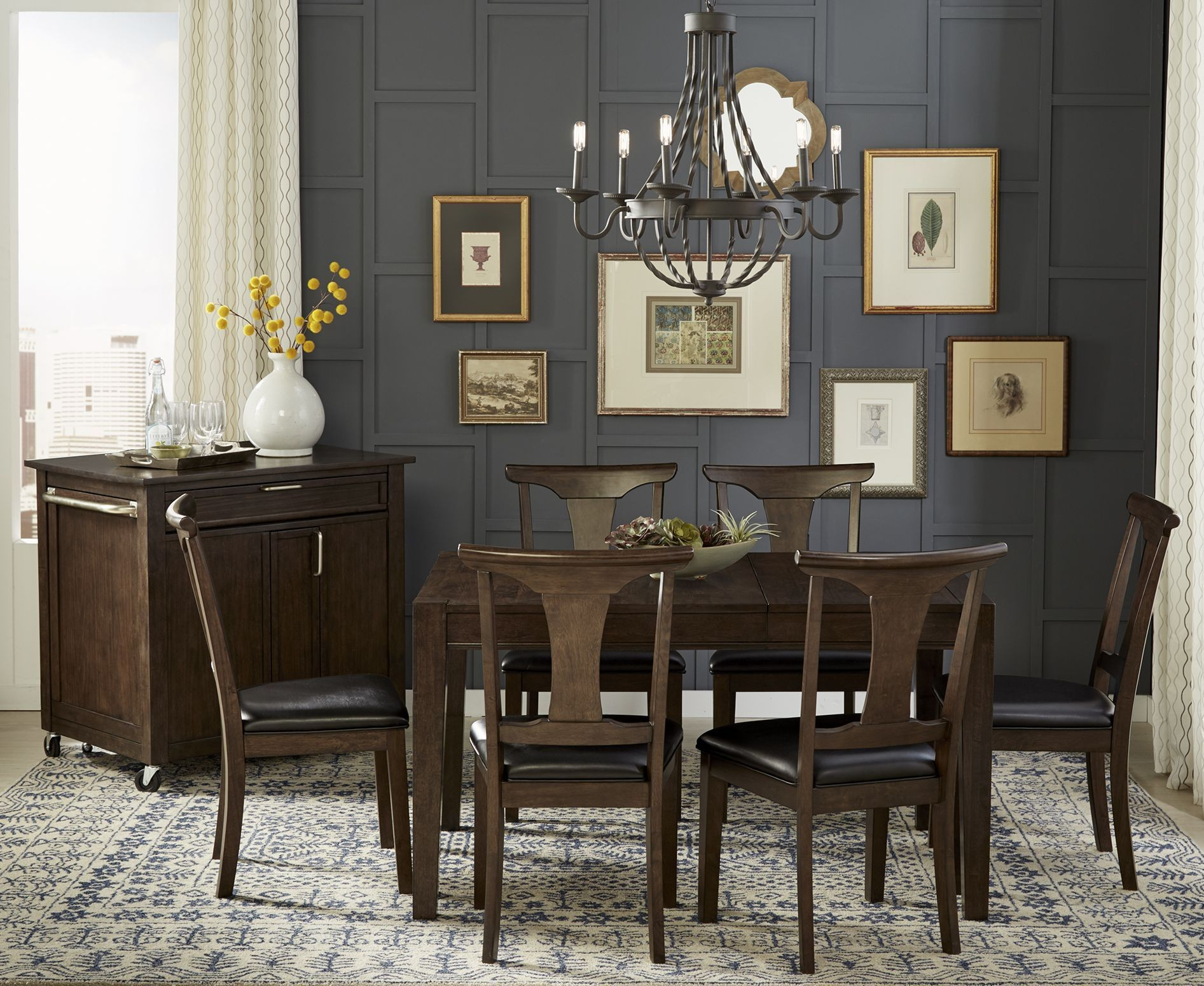Brooklyn heights dark grey extendable square leg dining table from a america coleman furniture