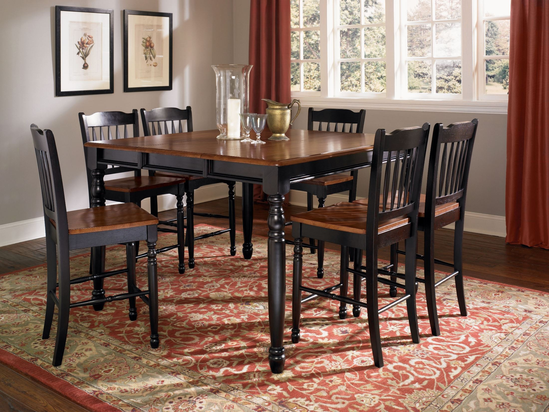 british isles 54 oak black extendable square counter height dining room set briob6720 a america. Black Bedroom Furniture Sets. Home Design Ideas