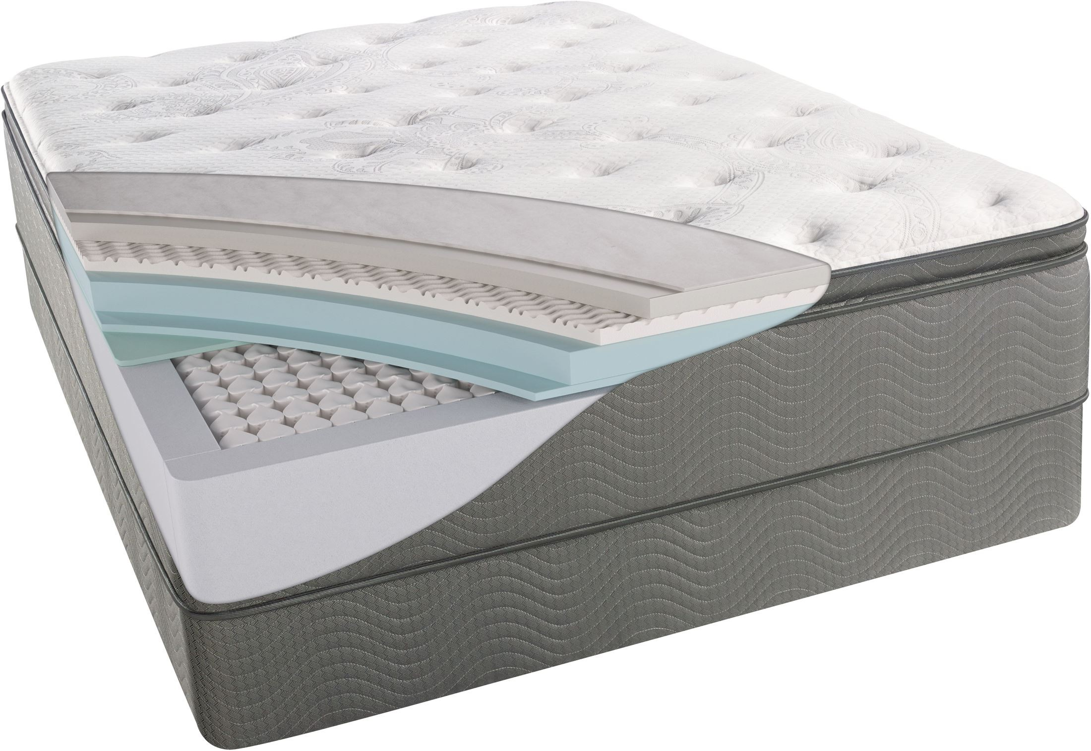 beautysleep allegra pillow top plush cal king size mattress with foundation from simmons. Black Bedroom Furniture Sets. Home Design Ideas