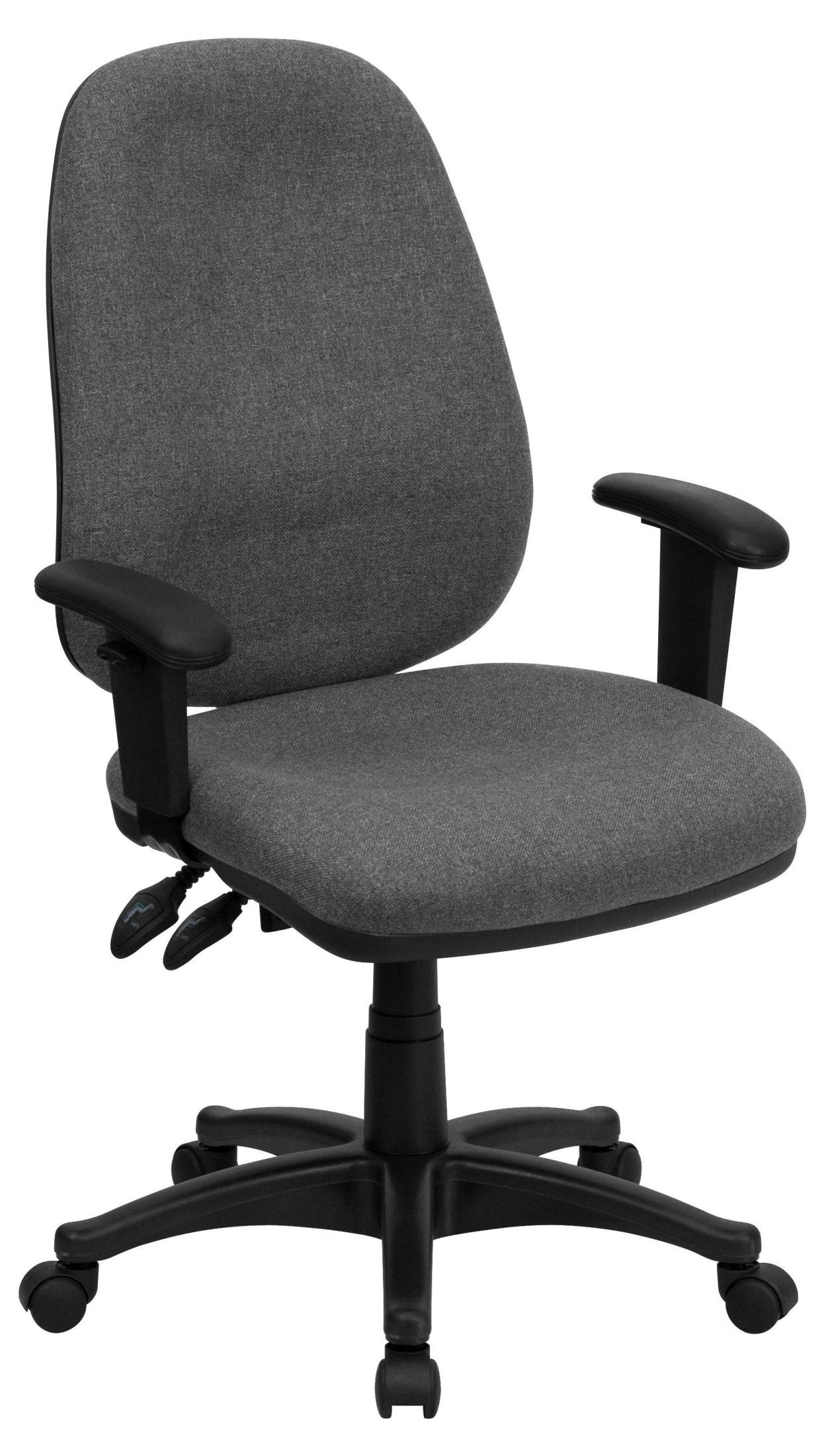 High Back Gray Fabric Ergonomic Computer Arm Chair from ...