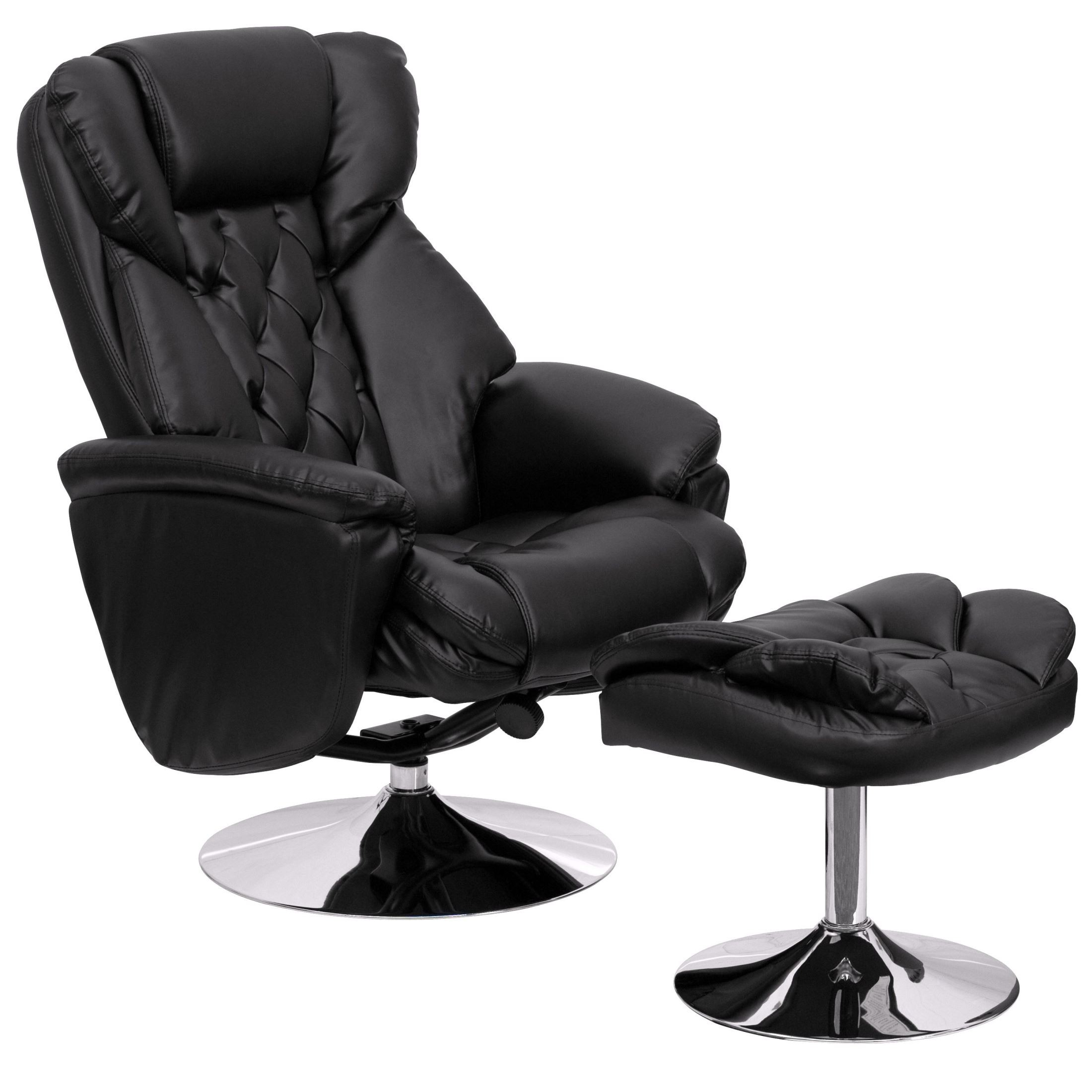1000411 Black Recliner And Ottoman From Renegade Coleman