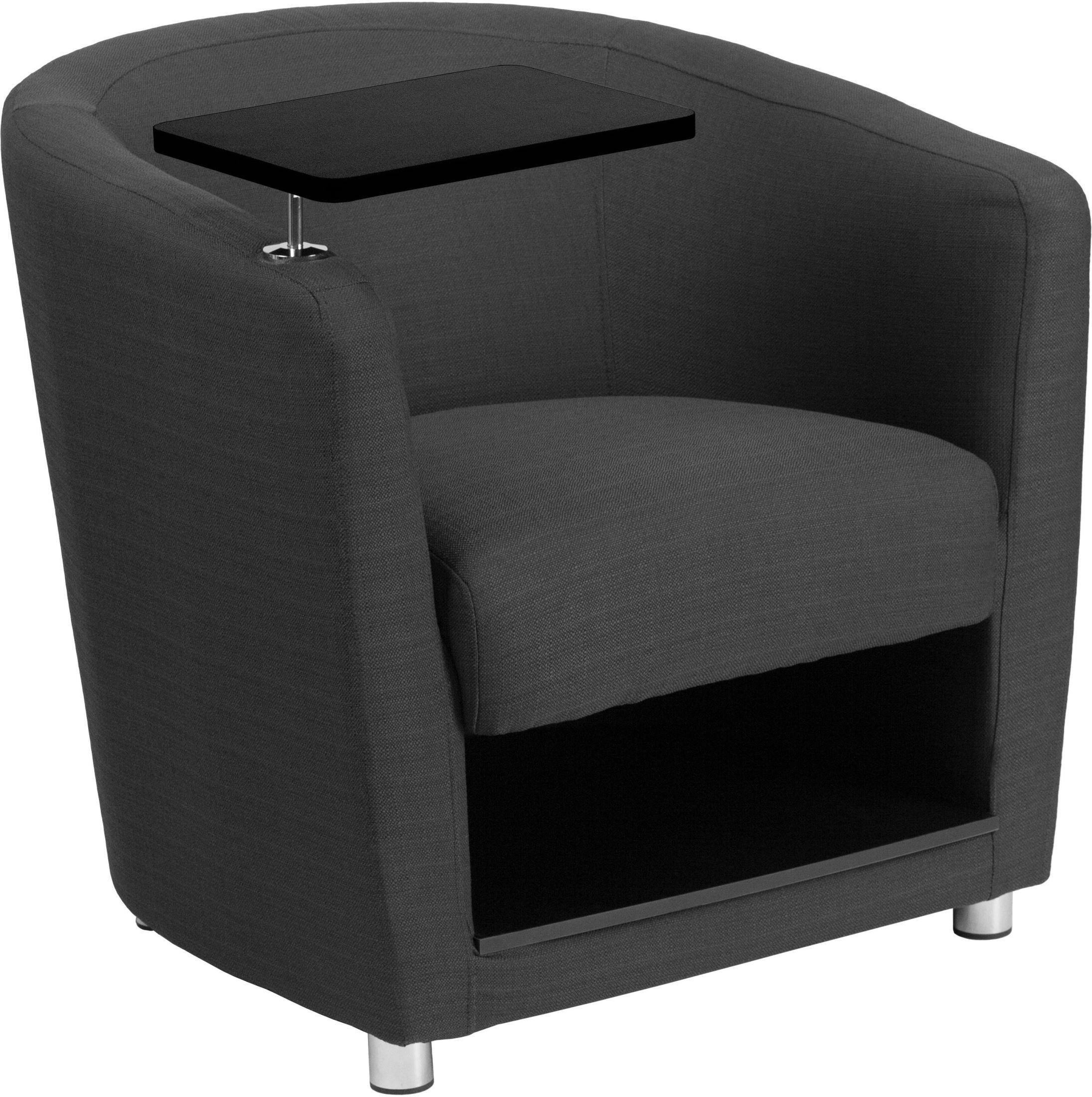 Charcoal Gray Fabric Guest Chair With Tablet Arm And Under