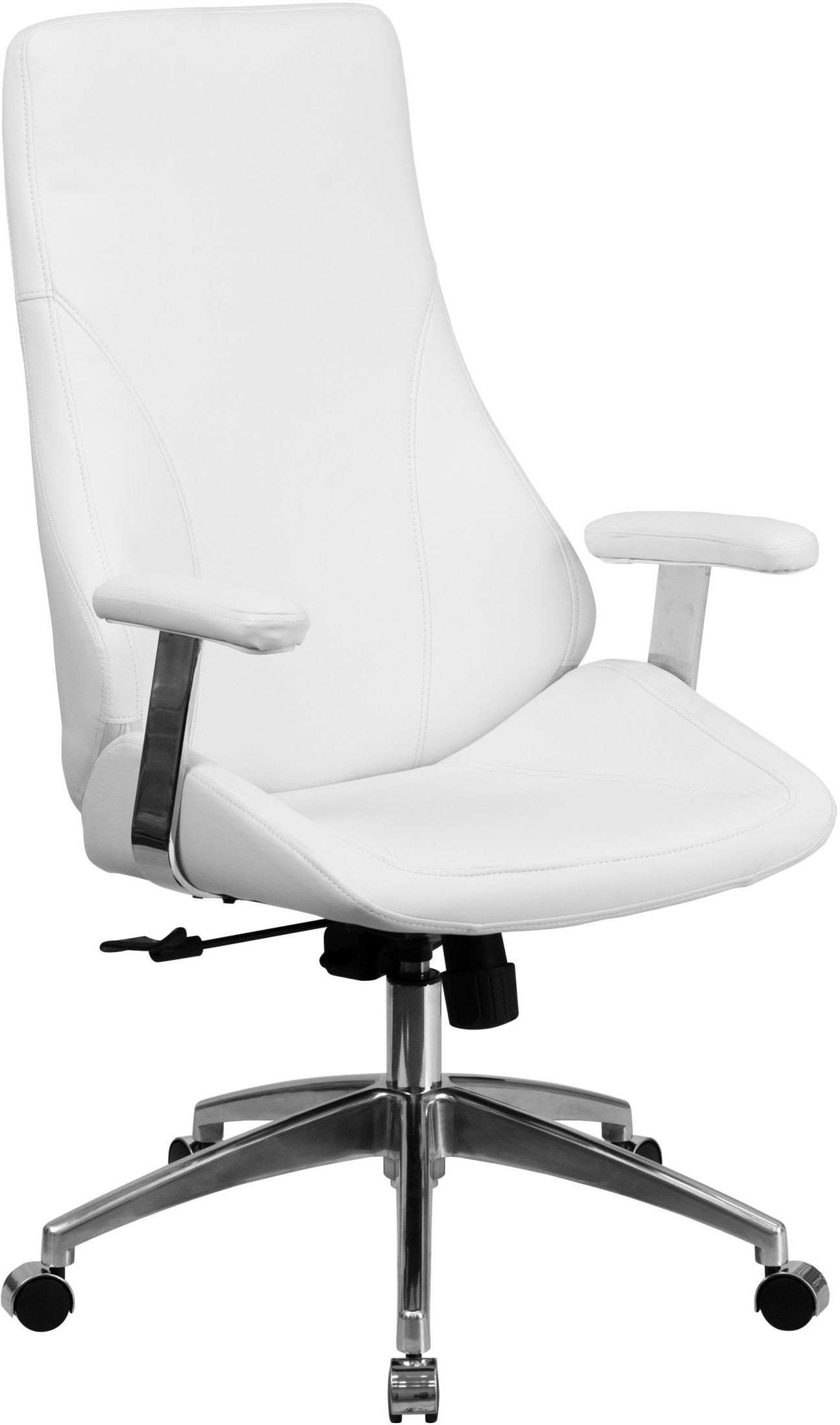 High back white bonded leather executive swivel office for Swivel chairs for office
