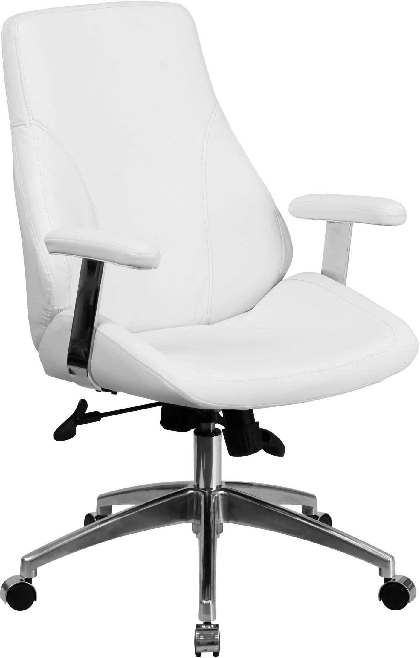 Mid back white leather executive swivel office chair with for Swivel chairs for office