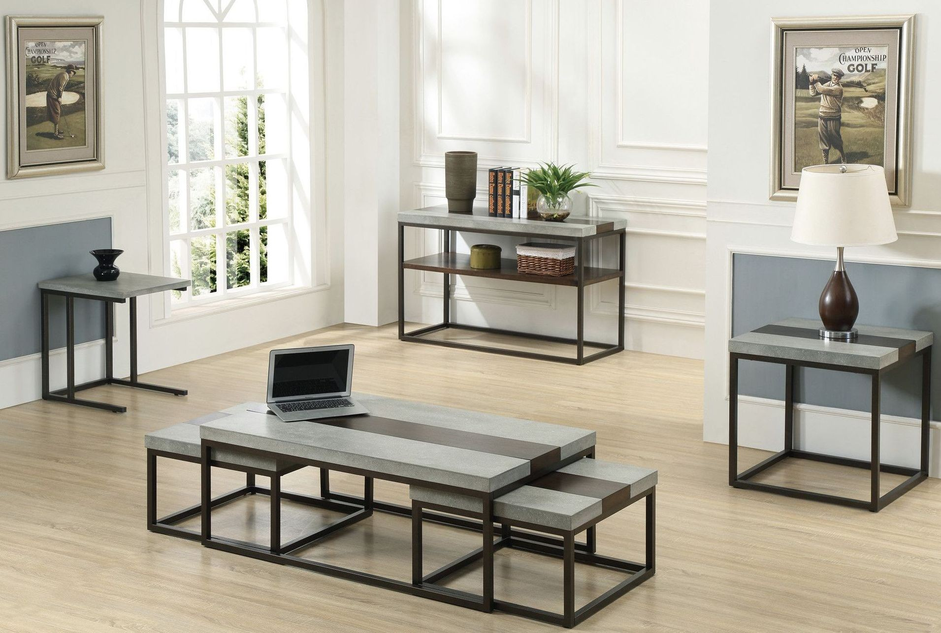 Stoneworks Merlot Concrete Occasional Table Set T517 3pc